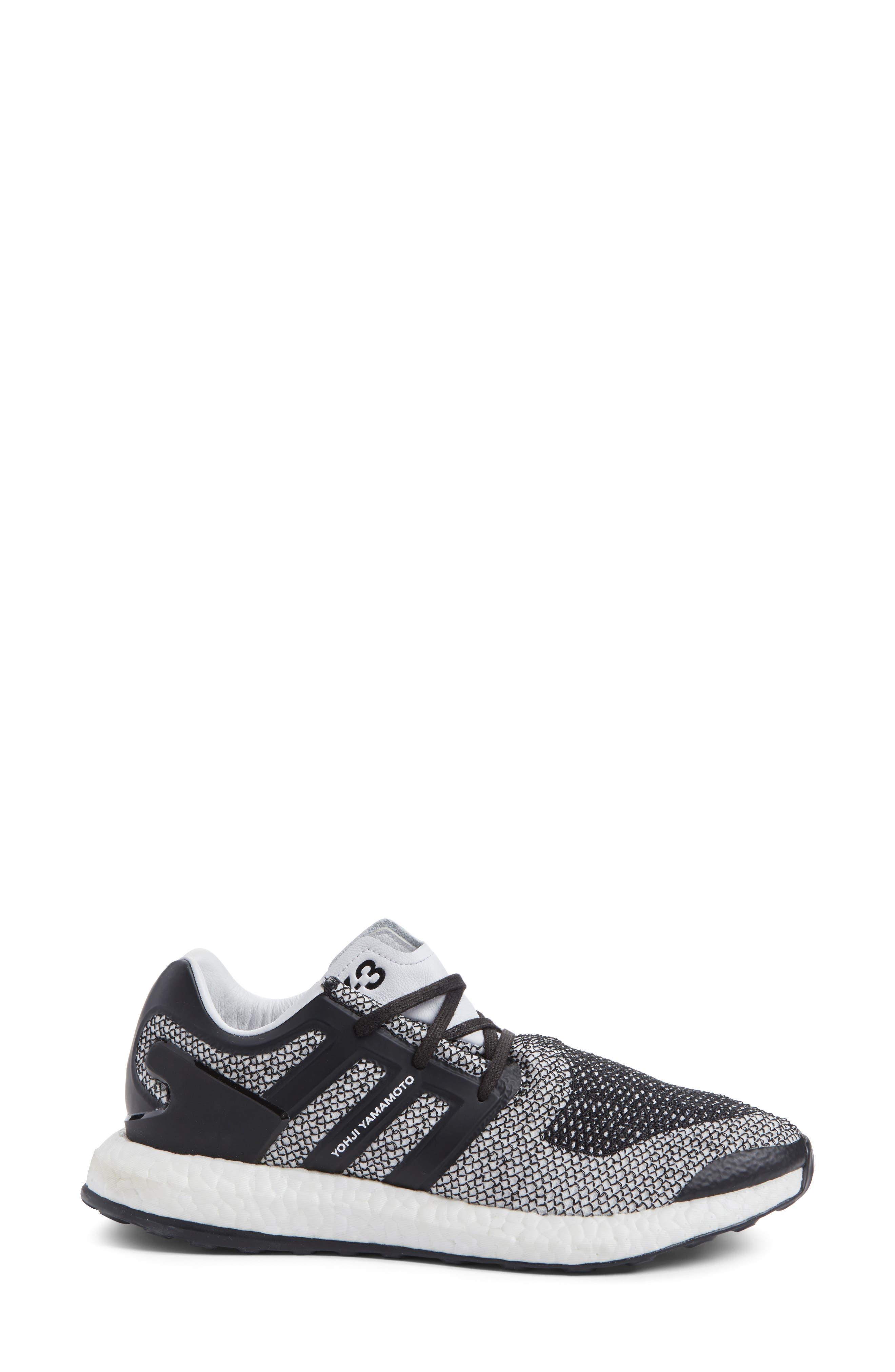 PureBoost Sneaker,                             Alternate thumbnail 3, color,                             White/ Core Black