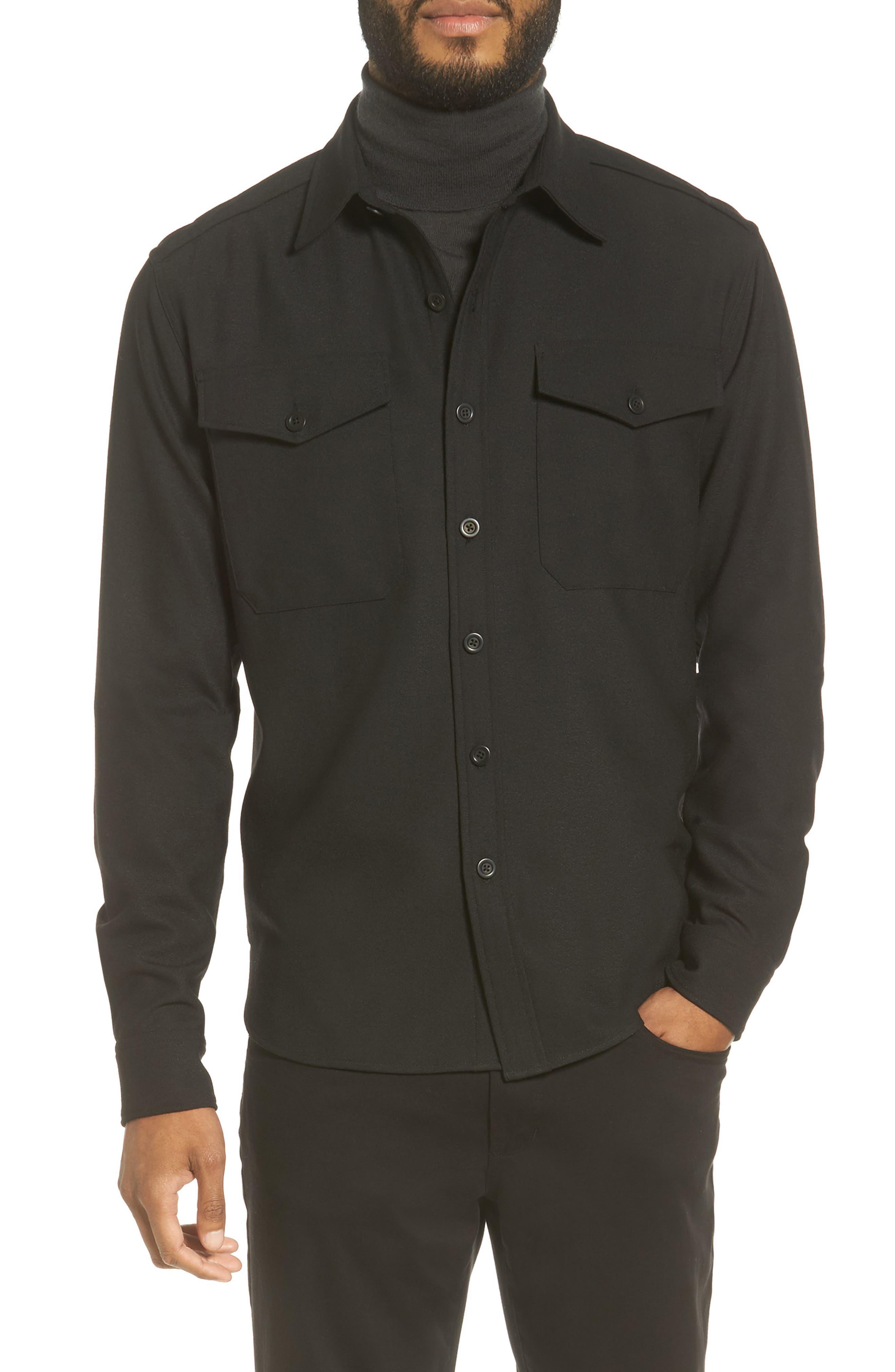 Regular Fit Sport Shirt,                         Main,                         color, Black