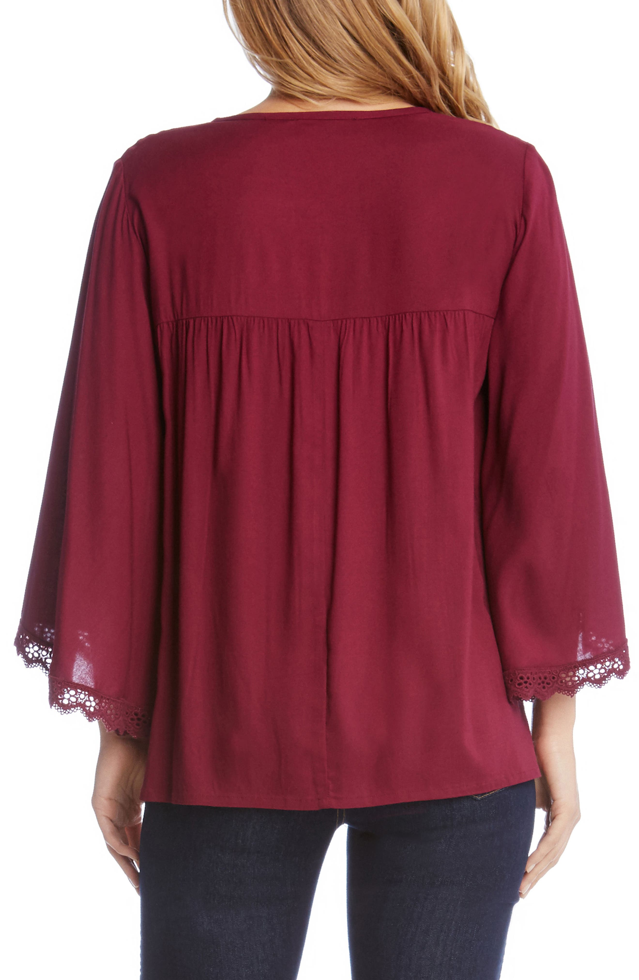Lace Trim Flare Sleeve Top,                             Alternate thumbnail 2, color,                             Berry