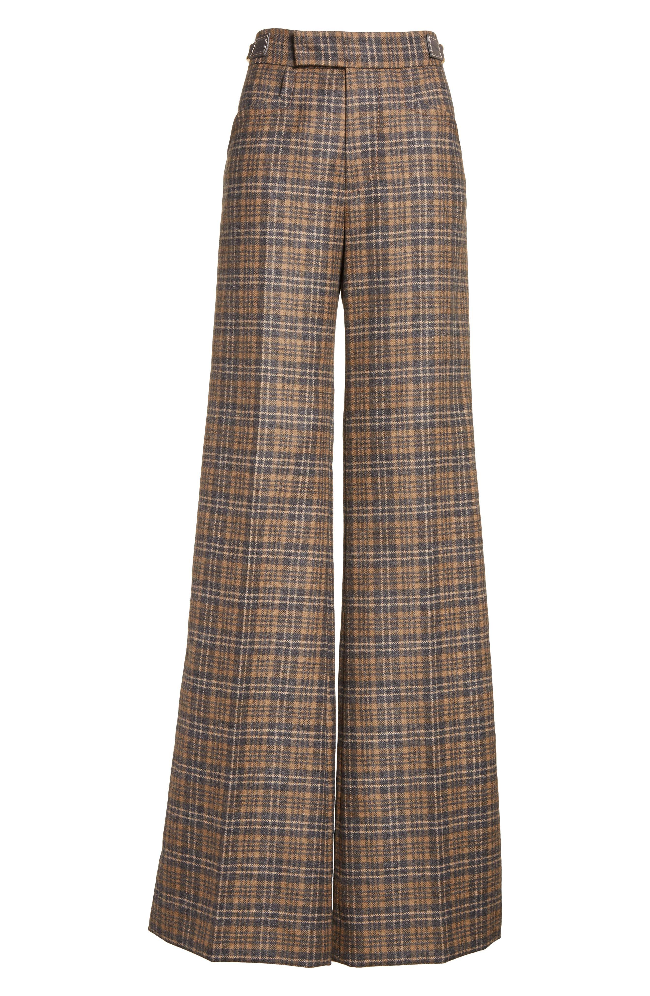 Plaid Wool Blend Wide Leg Pants,                             Alternate thumbnail 6, color,                             Camel Multi