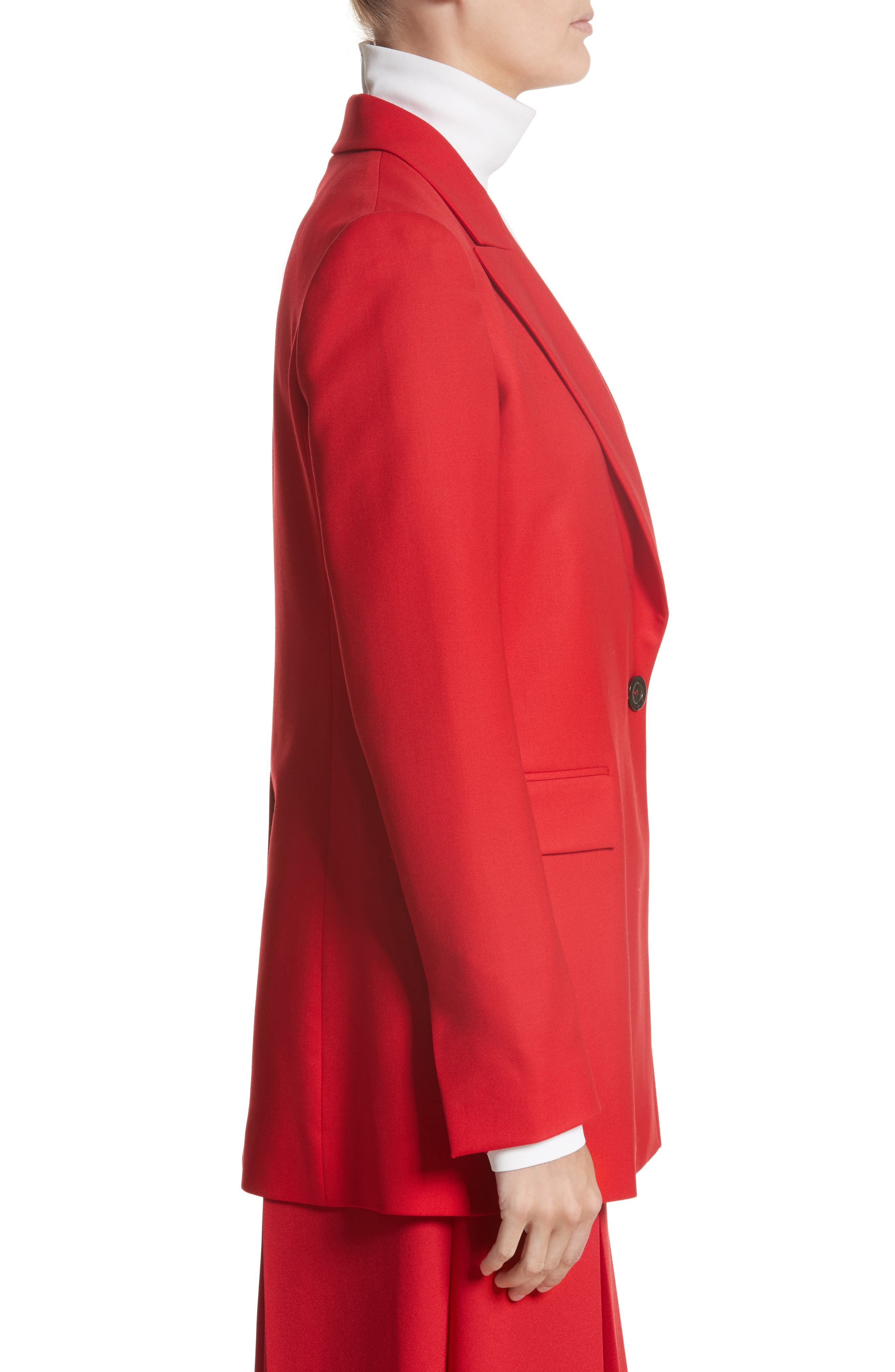 Stretch Wool Blazer,                             Alternate thumbnail 4, color,                             Red