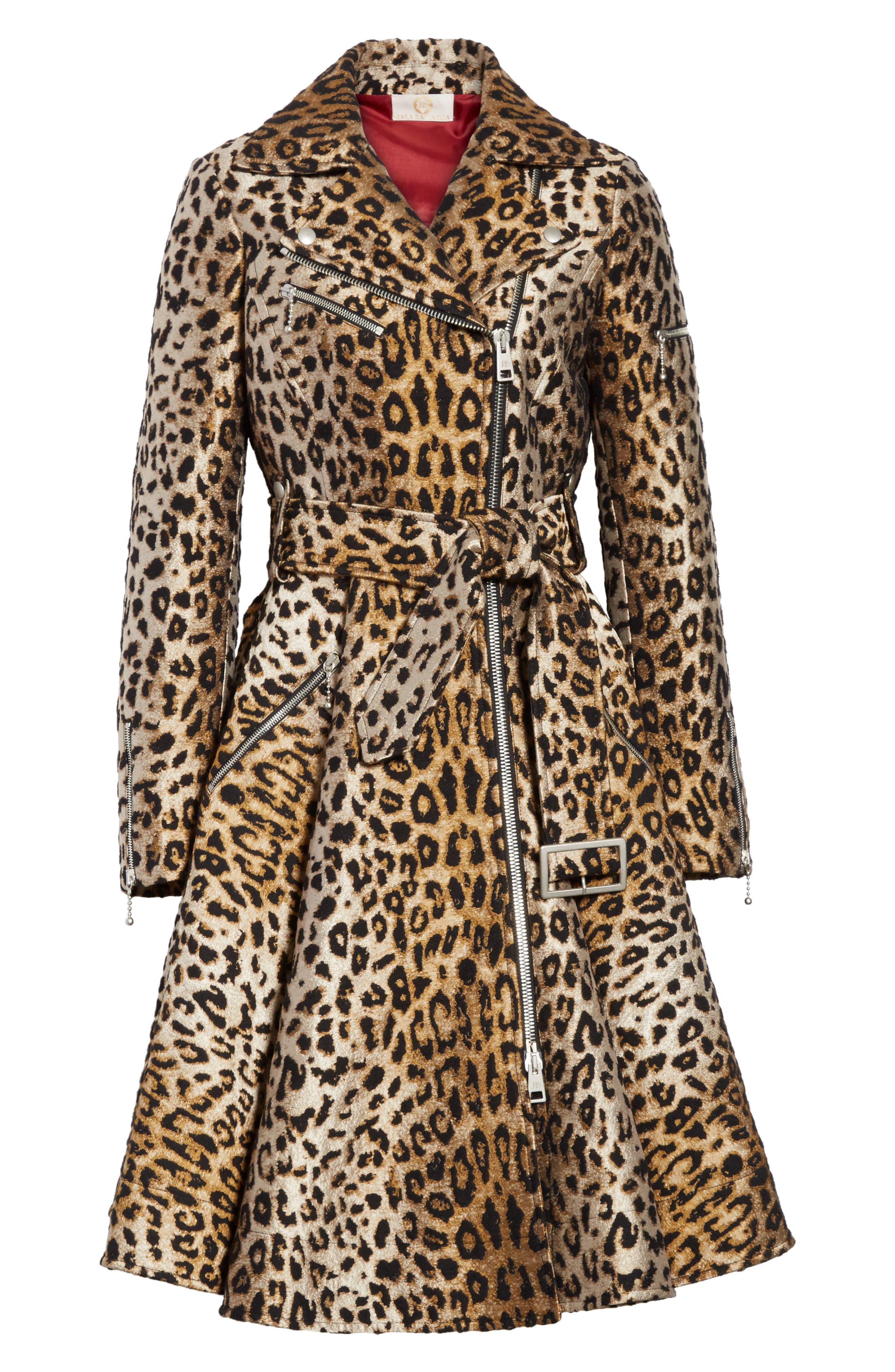 Leopard Jacquard Trench Coat,                             Alternate thumbnail 7, color,                             Leopard