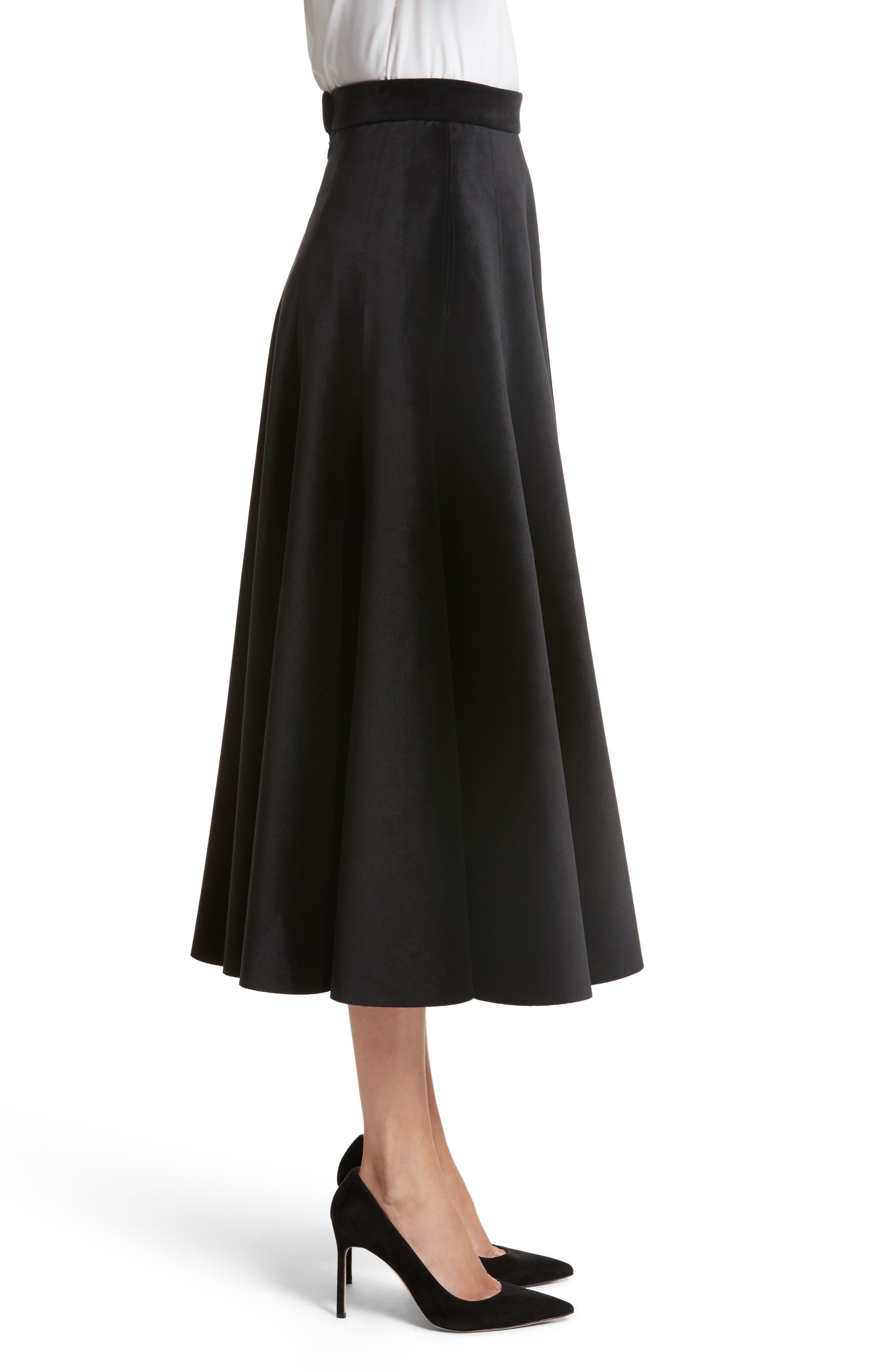 Velvet A-Line Midi Skirt,                             Alternate thumbnail 3, color,                             Black