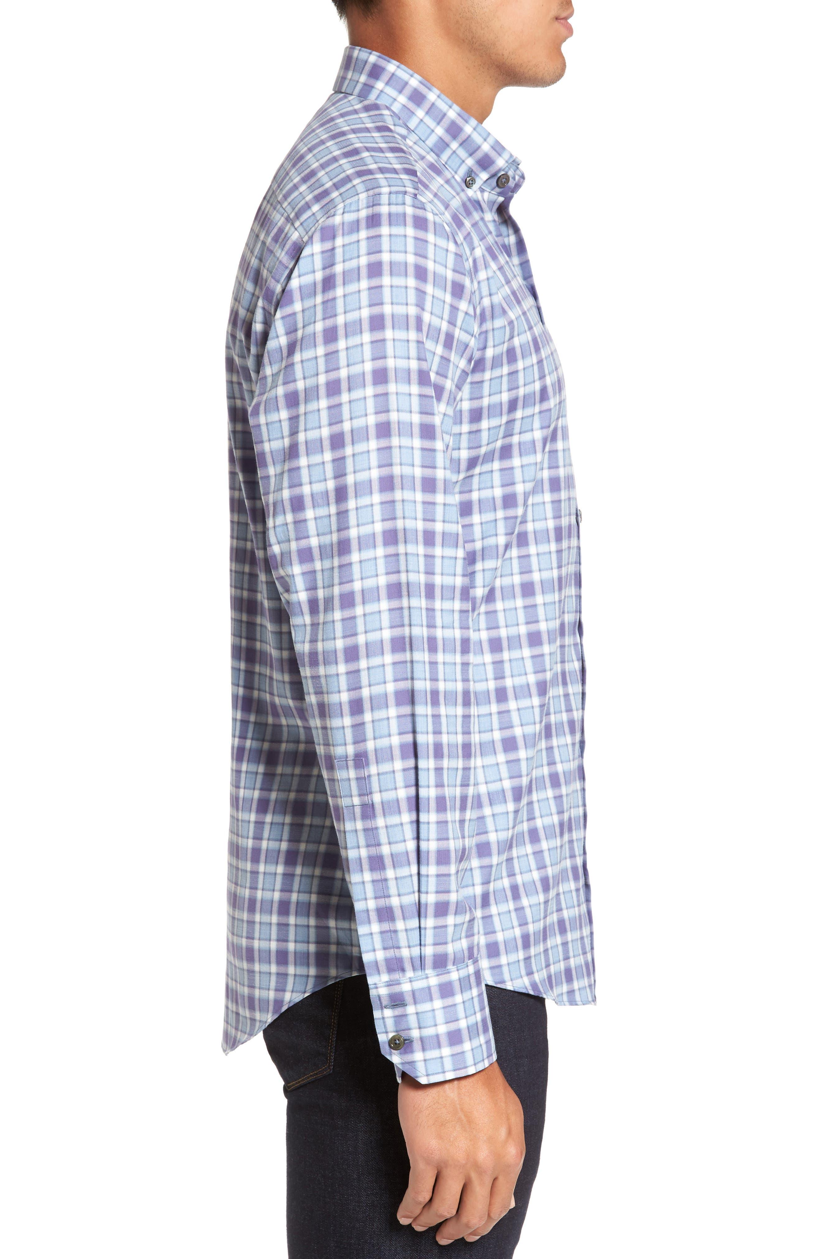 Lobban Slim Fit Check Sport Shirt,                             Alternate thumbnail 4, color,                             Purple