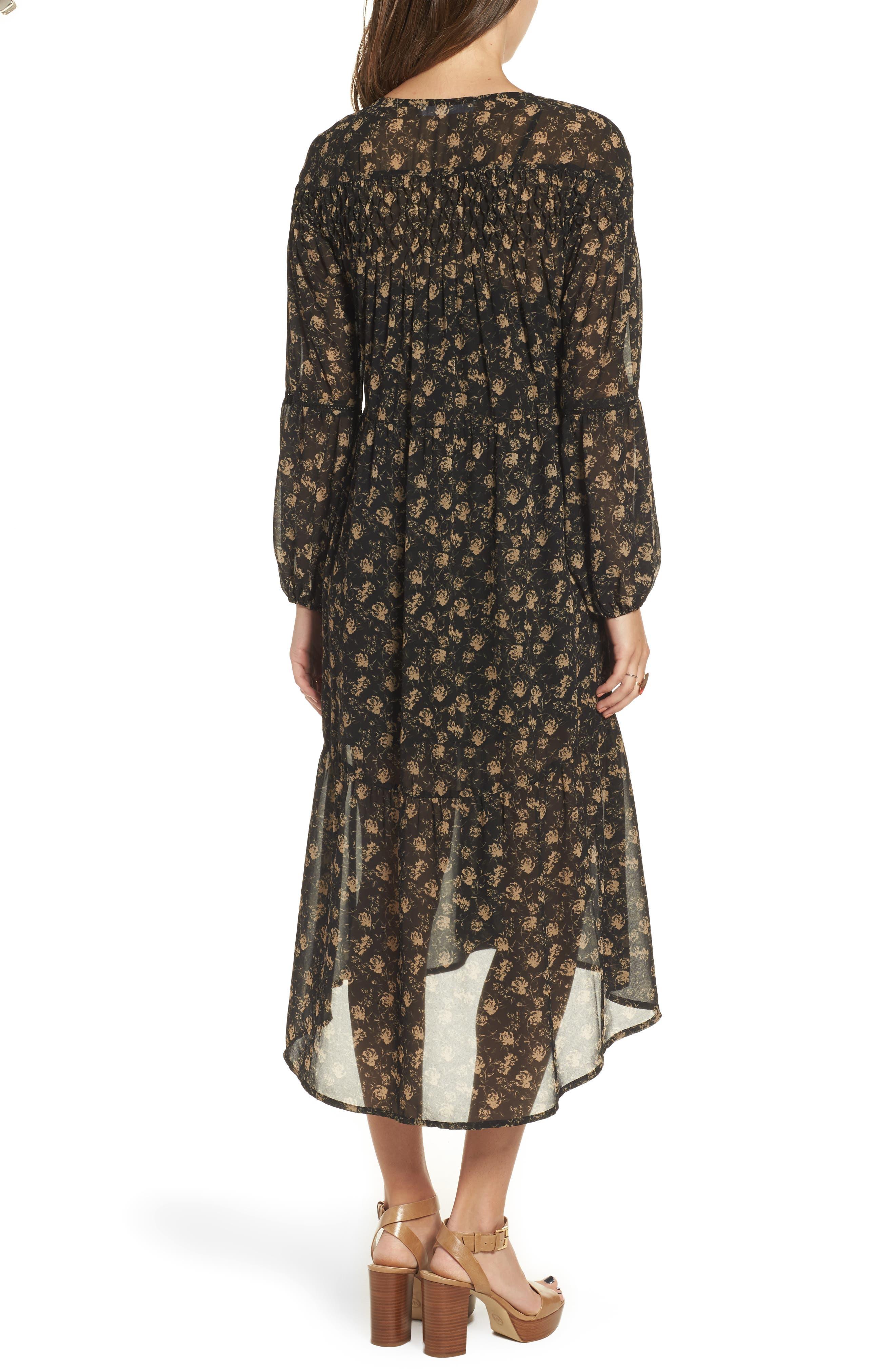 Ambrosia Shift Dress,                             Alternate thumbnail 3, color,                             Black-Tan Floral