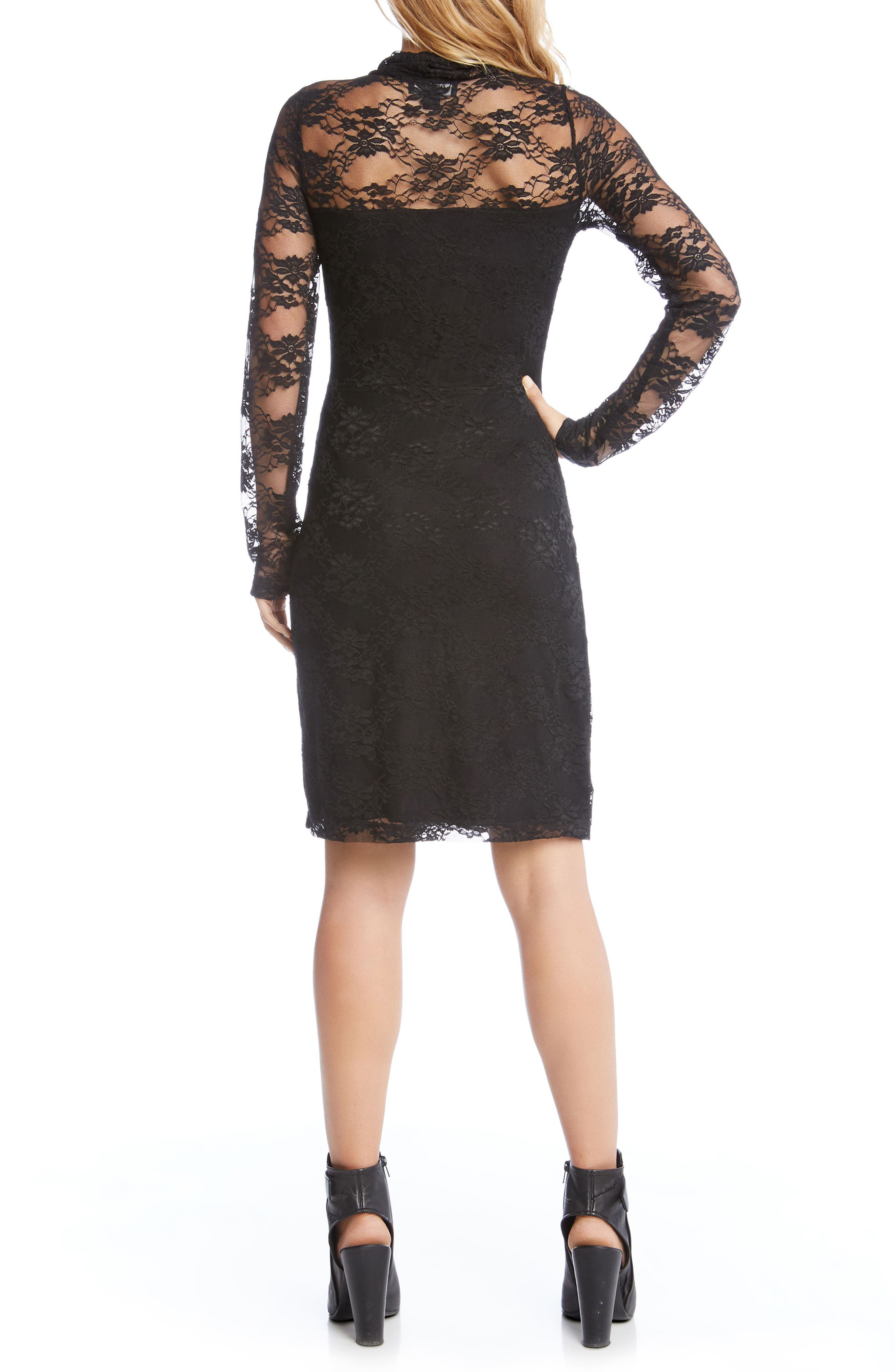 Turtleneck Lace Sheath Dress,                             Alternate thumbnail 3, color,                             Black