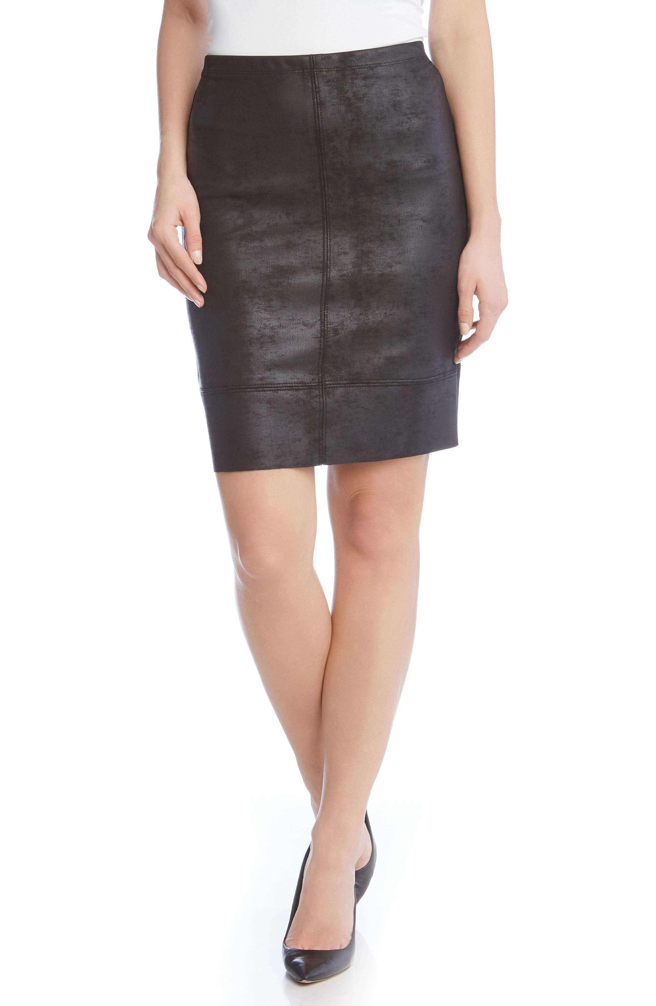 Main Image - Karen Kane Stretch Faux Leather Skirt