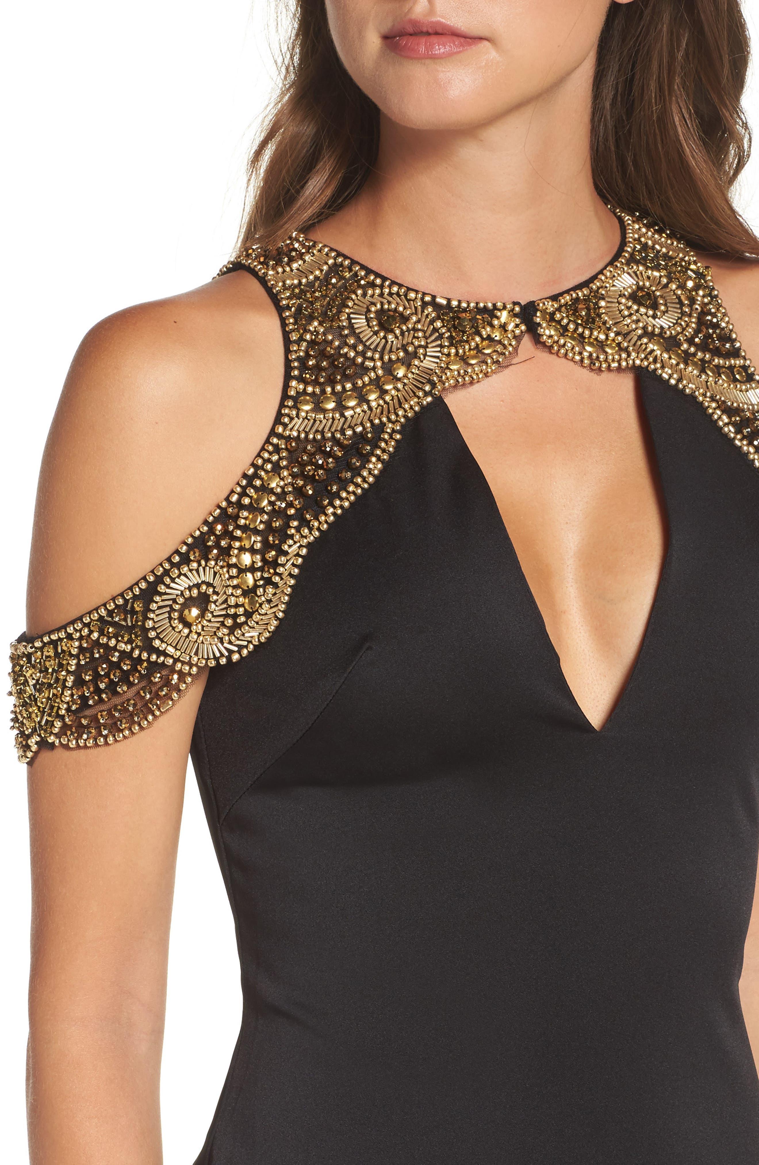Alternate Image 4  - Ieena for Mac Duggal Embellished Cold Shoulder Gown