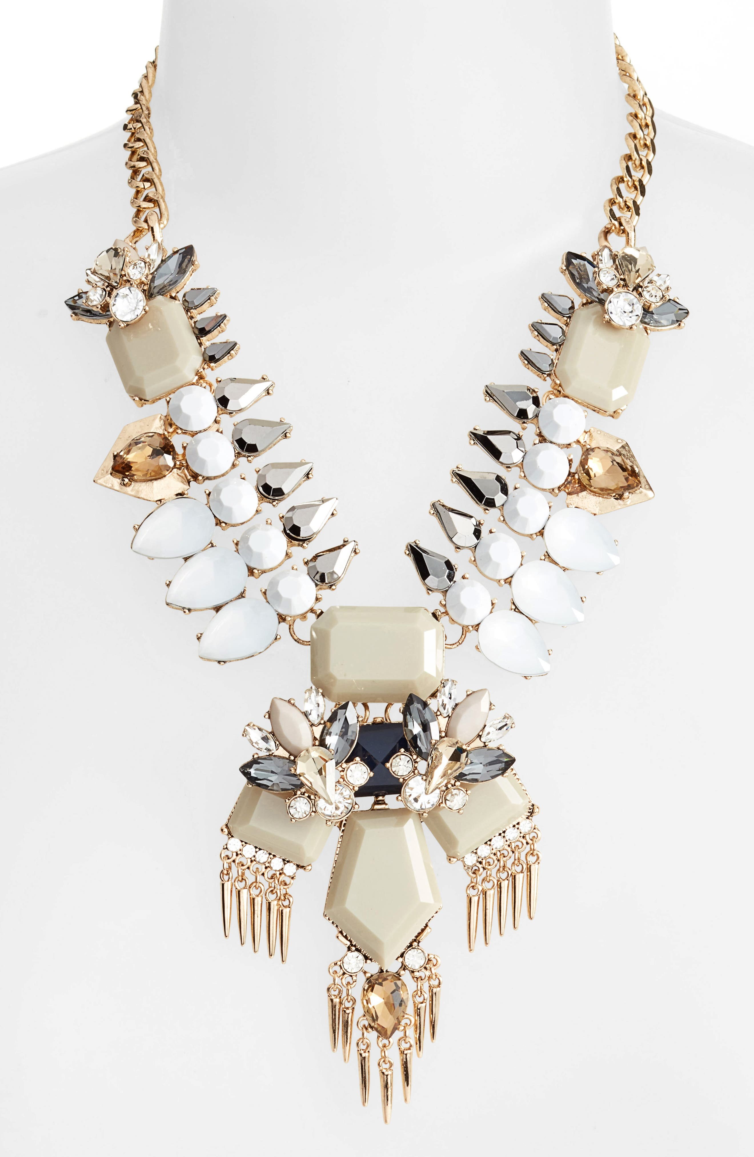 Alternate Image 2  - Adia Kibur Crystal & Spike Statement Necklace