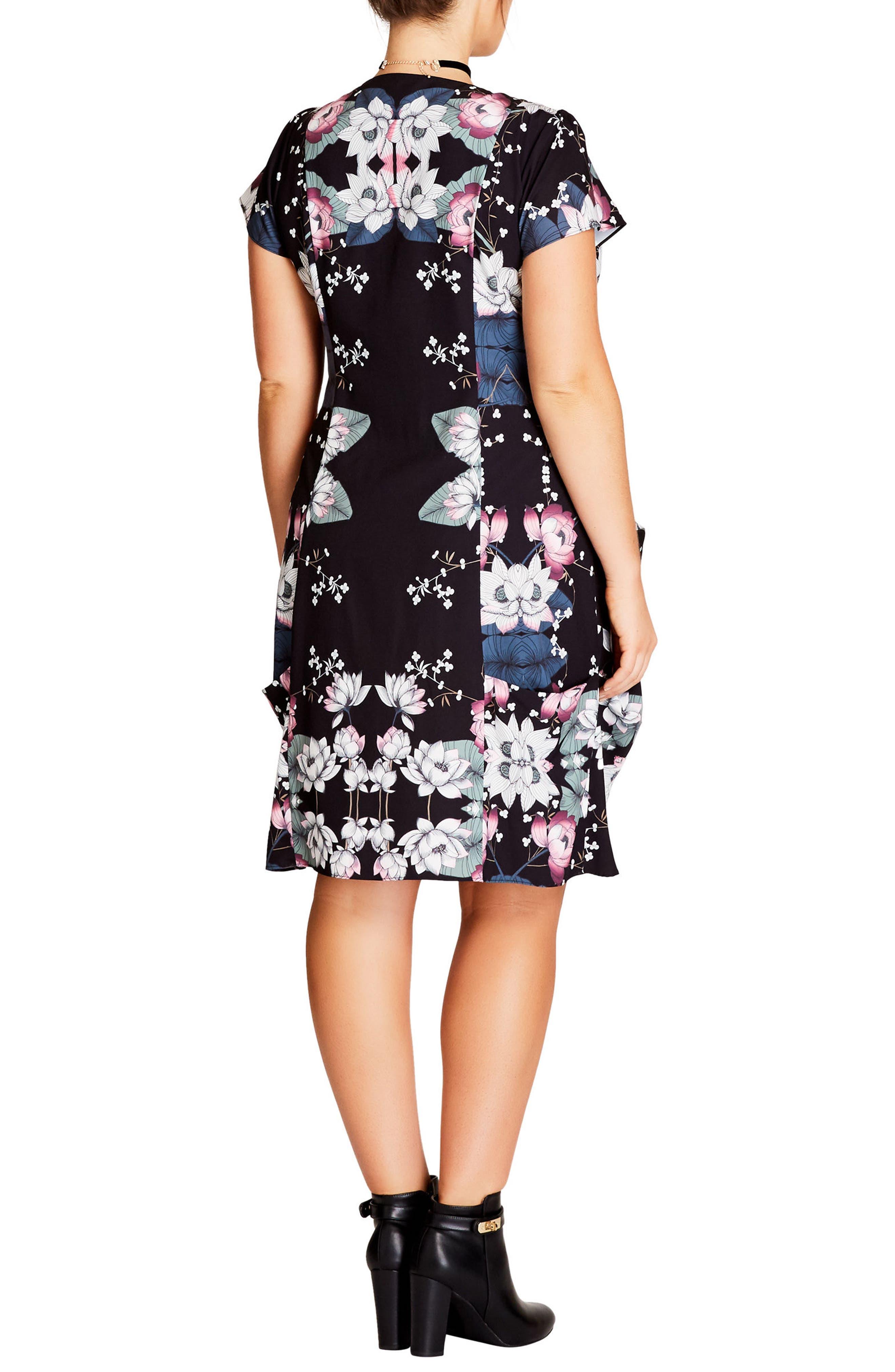 Alternate Image 2  - City Chic Saigon Floral Tunic Dress (Plus Size)