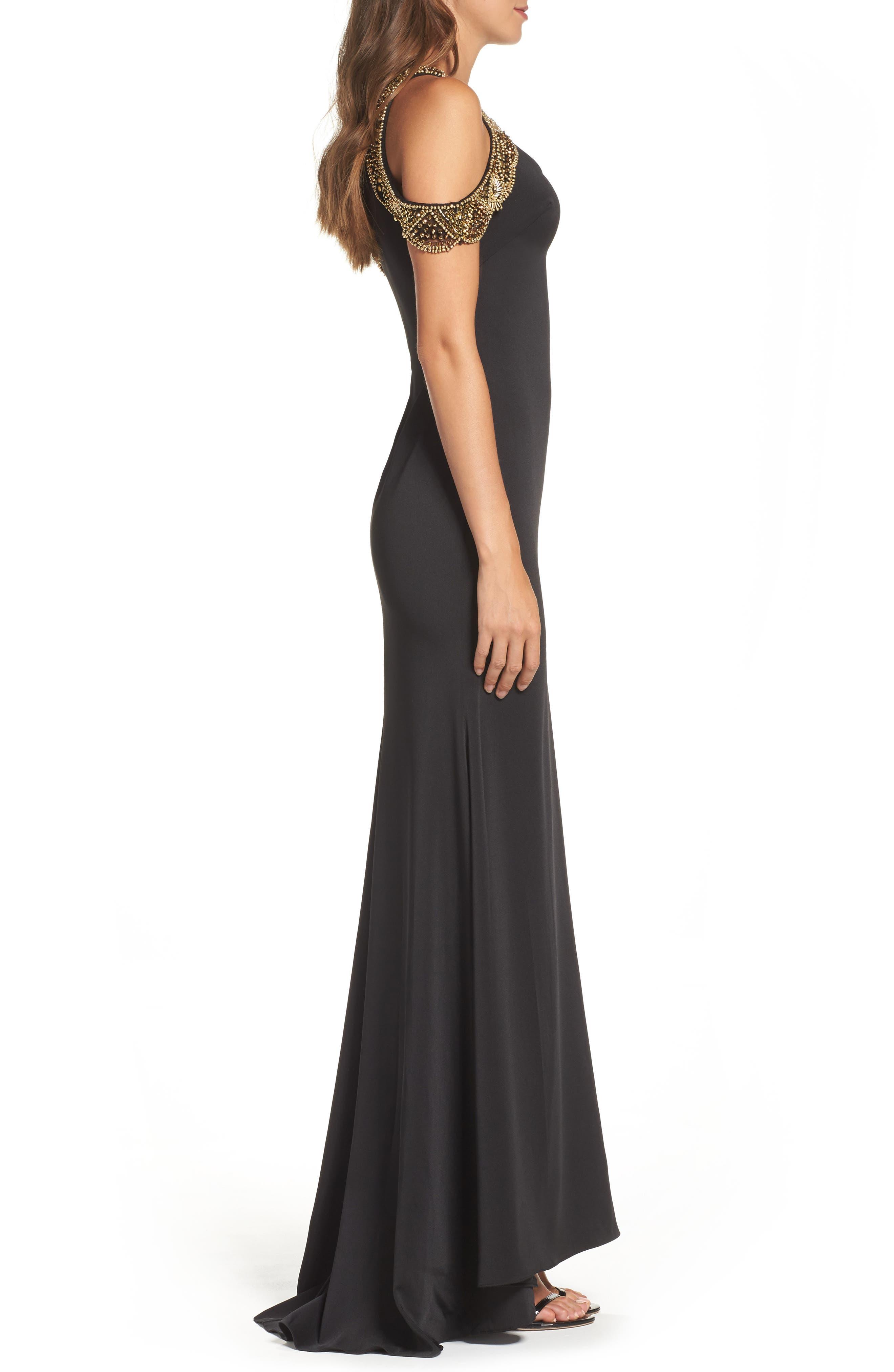 Alternate Image 3  - Ieena for Mac Duggal Embellished Cold Shoulder Gown