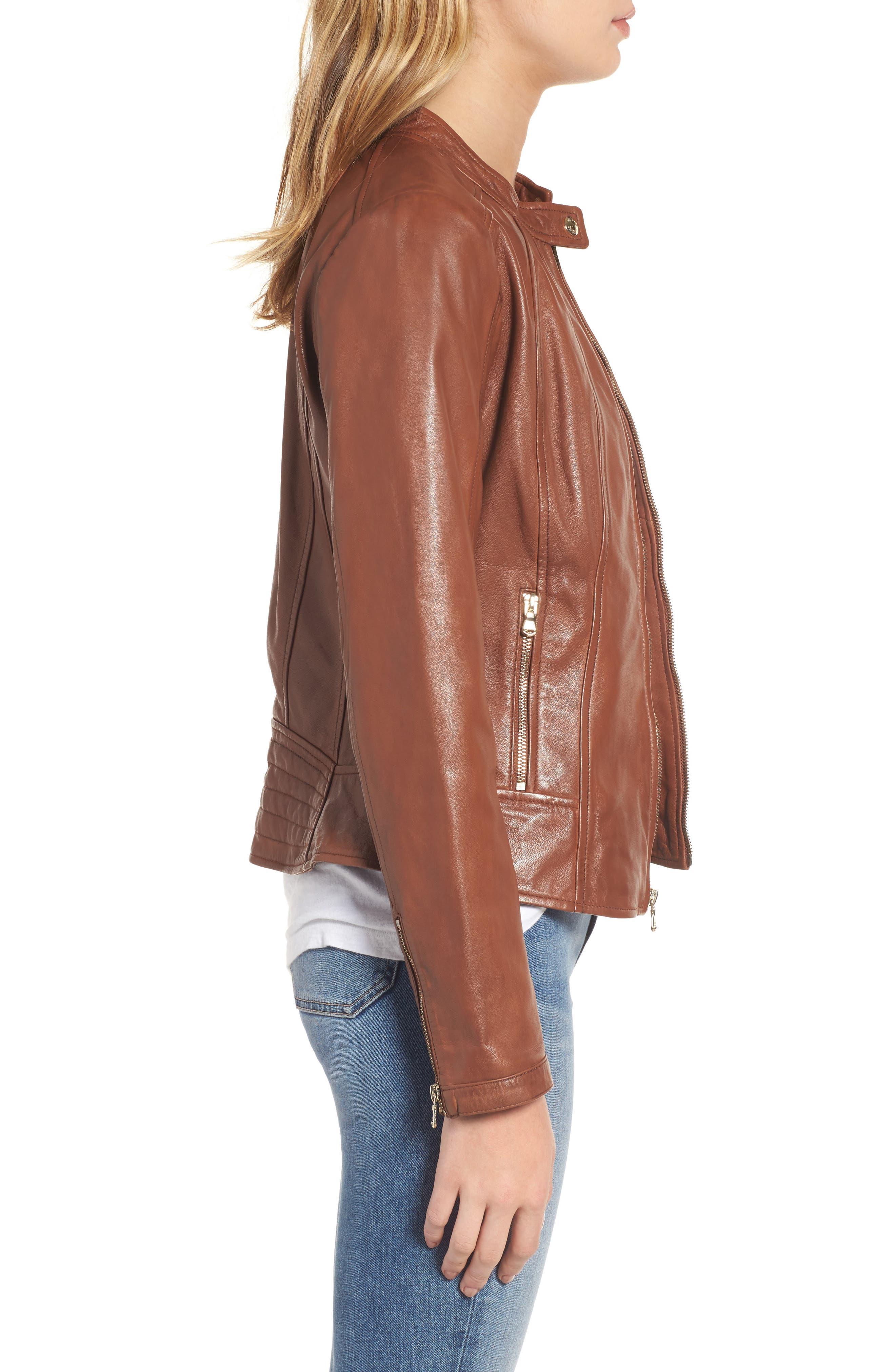 Alternate Image 3  - Guess Collarless Leather Moto Jacket
