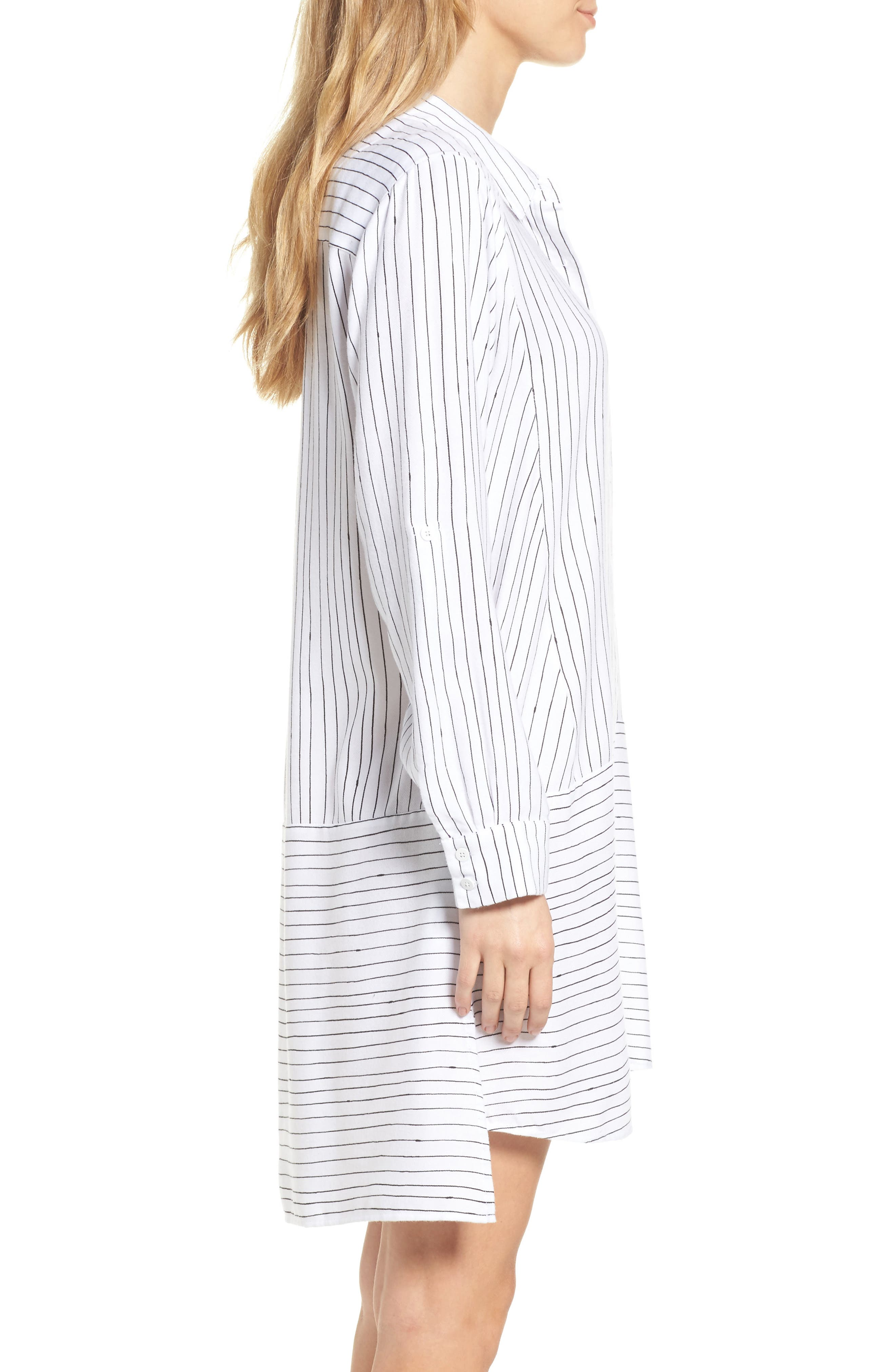 Stripe Sleep Shirt,                             Alternate thumbnail 3, color,                             White Stripe Print