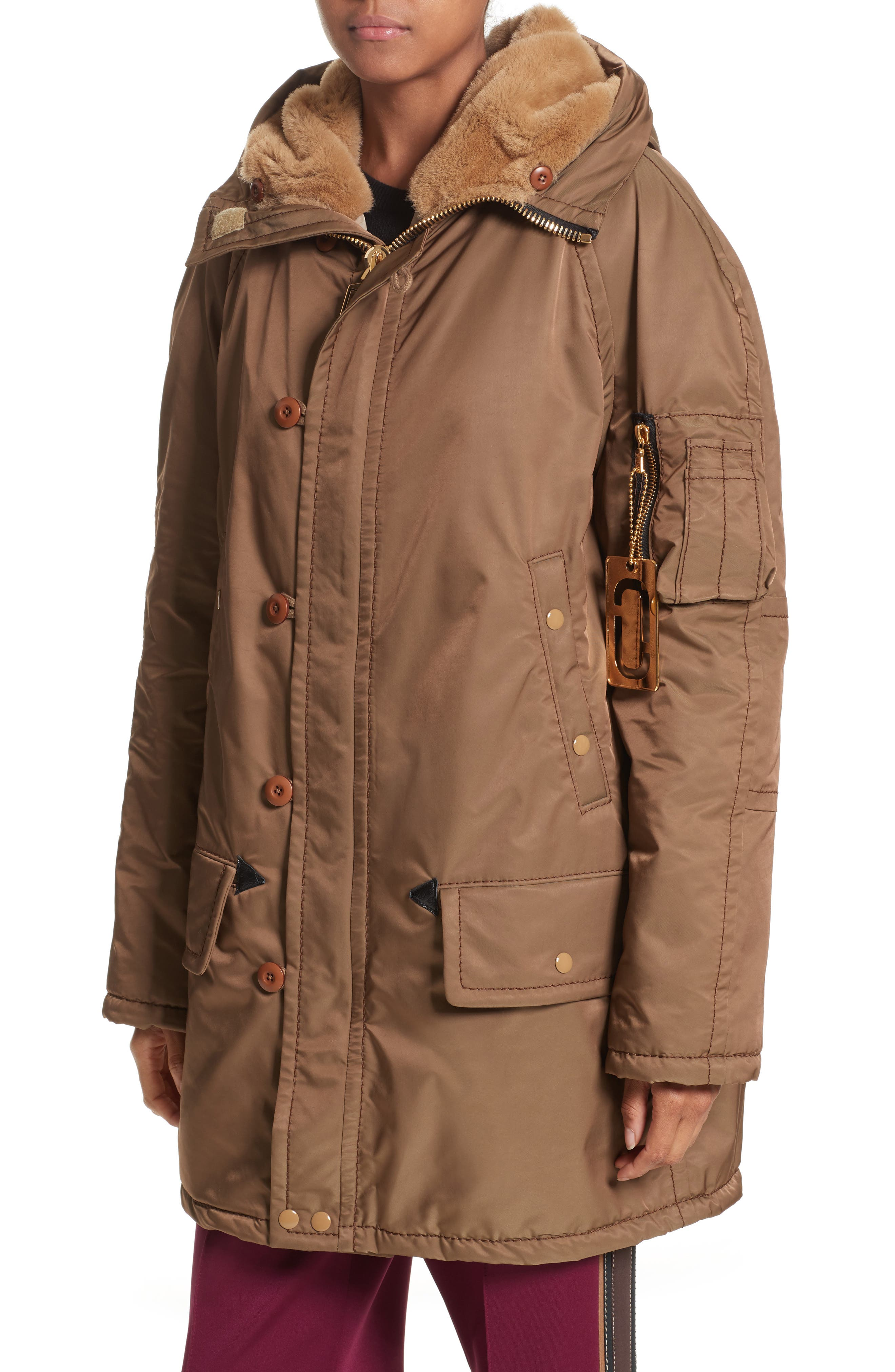 Parka with Faux Fur Trim Hood,                             Alternate thumbnail 4, color,                             Brown