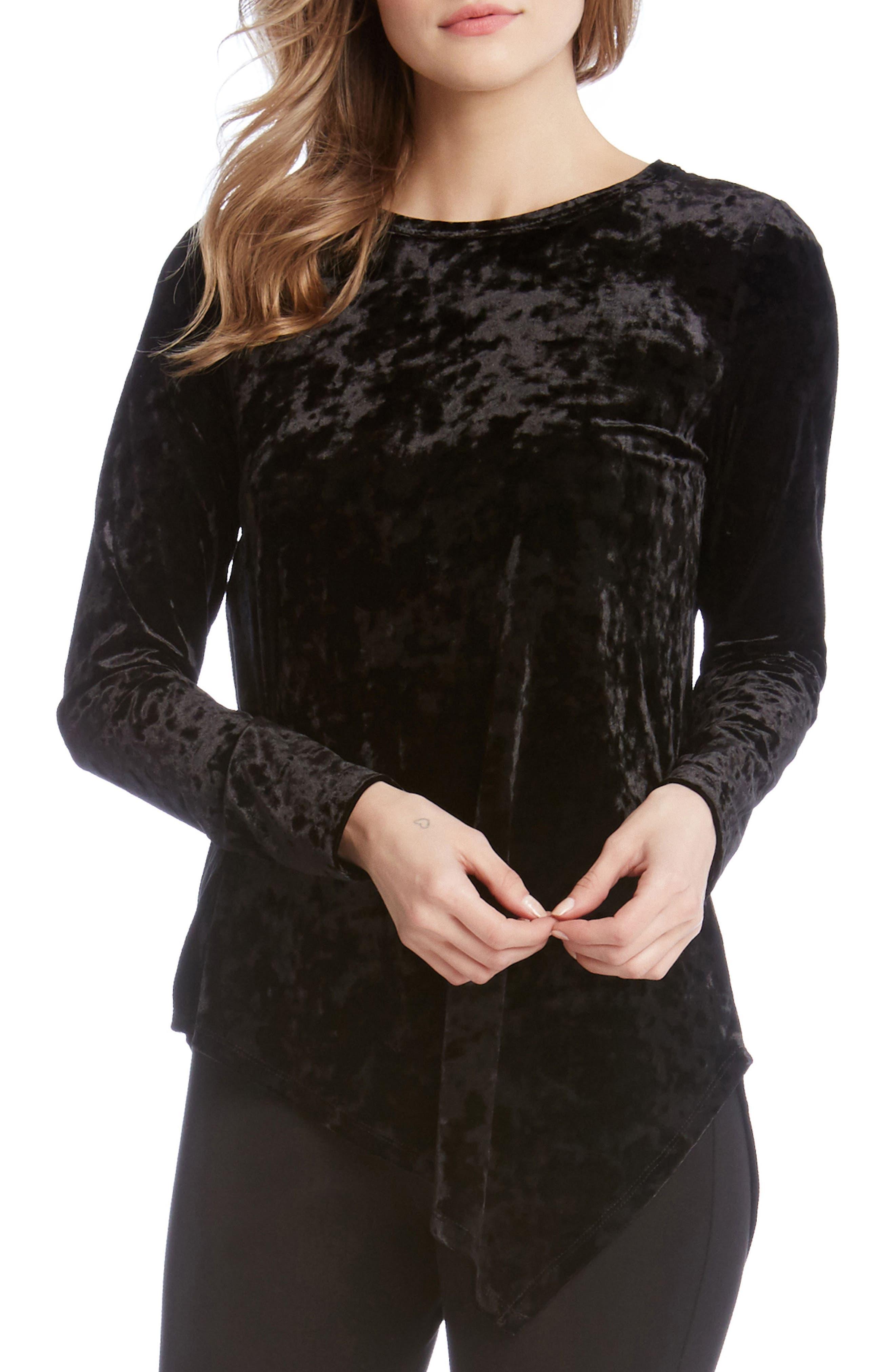 Asymmetrical Hem Velvet Top,                         Main,                         color, Black