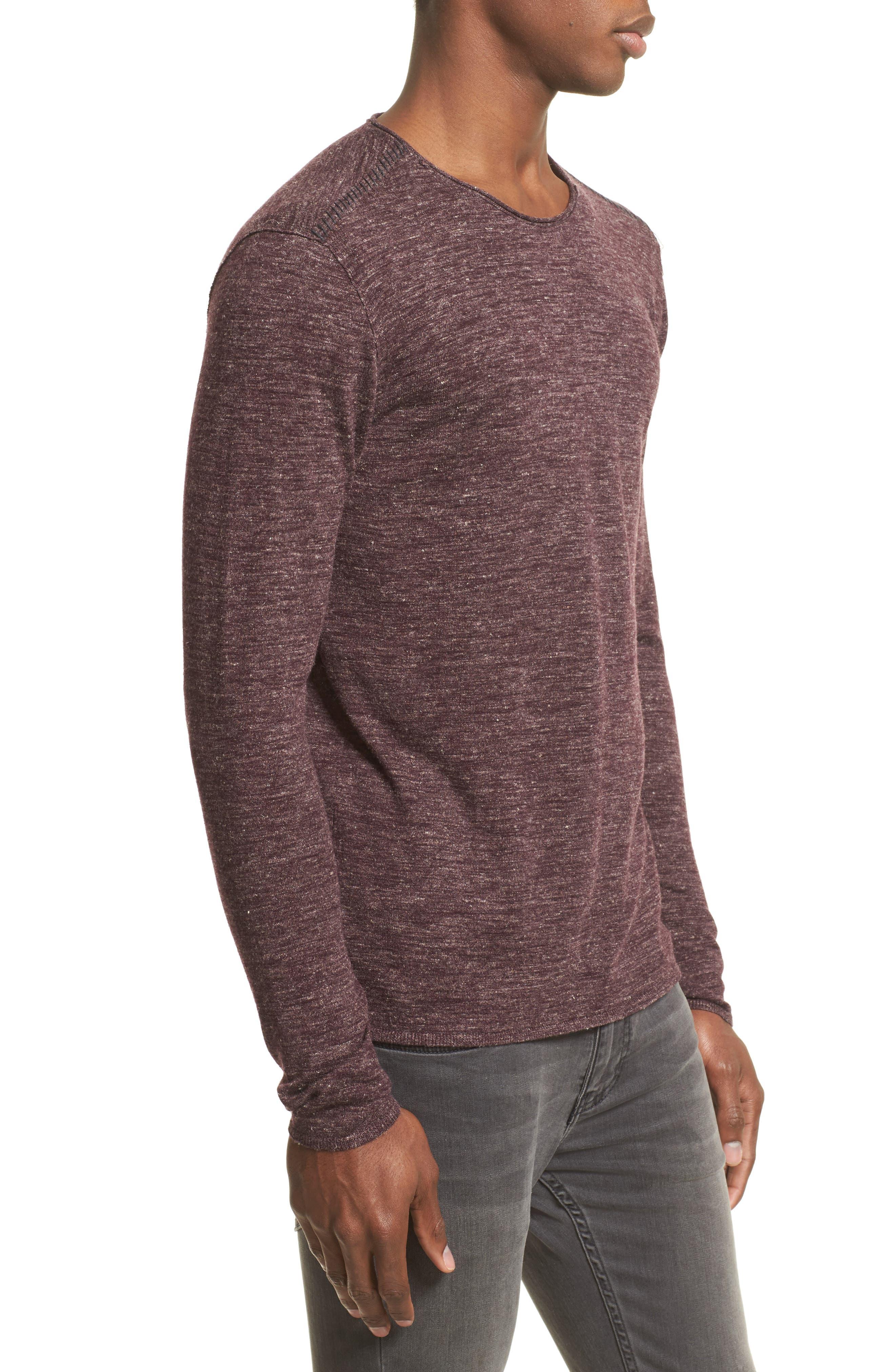 Heathered Crewneck Sweater,                             Alternate thumbnail 3, color,                             Oxblood