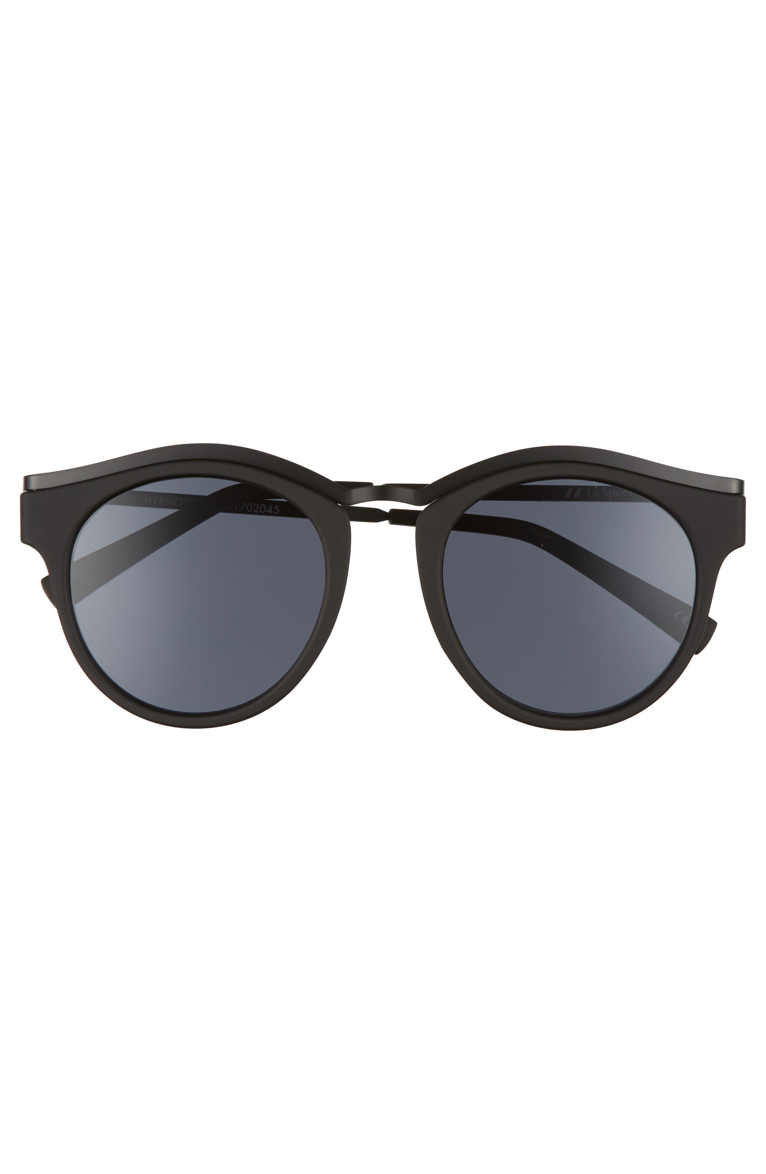 Hypnotize 50mm Round Sunglasses,                             Alternate thumbnail 3, color,                             Black Rubber