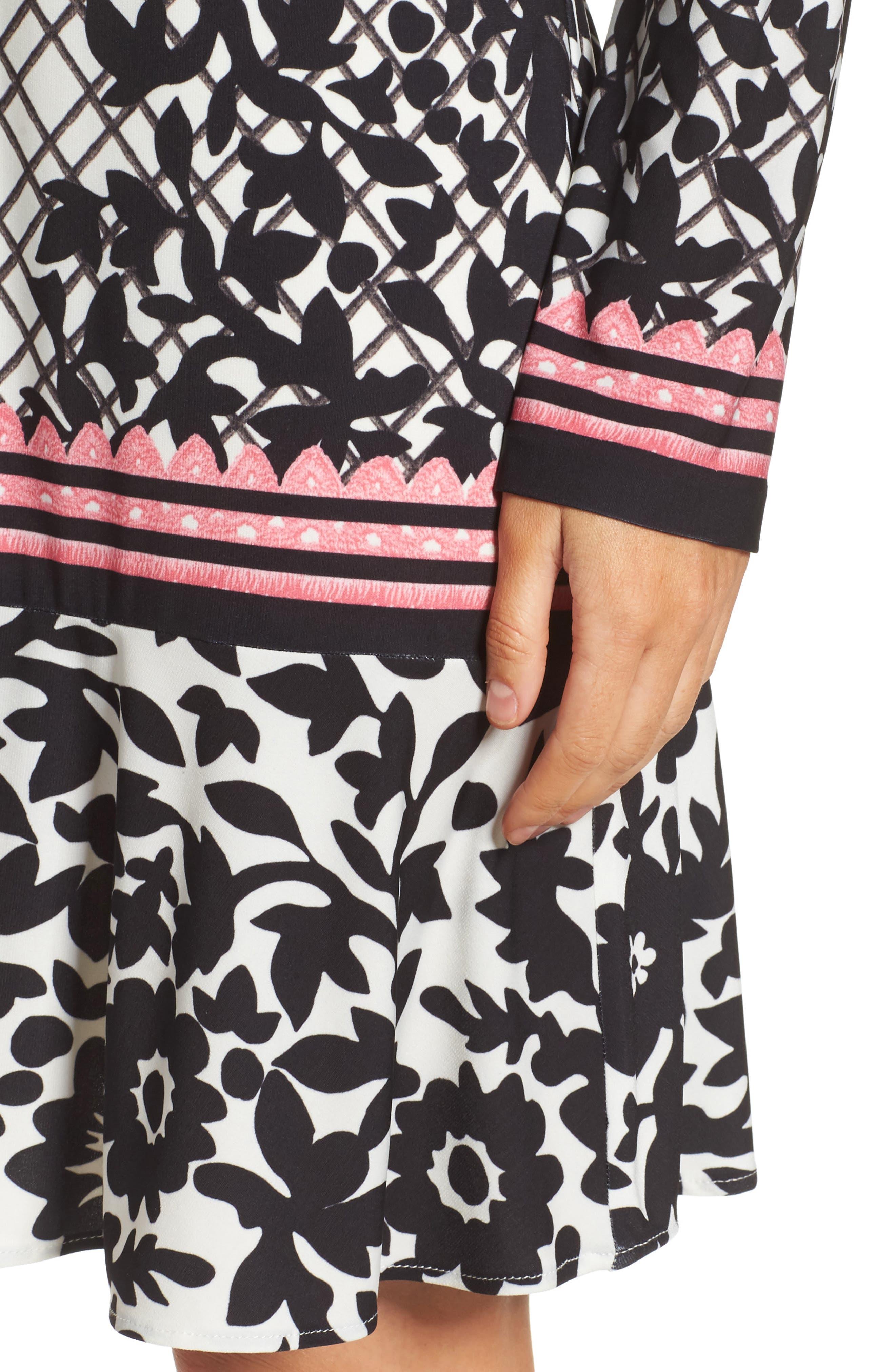 Print Knit Trumpet Dress,                             Alternate thumbnail 4, color,                             Black/ Pink