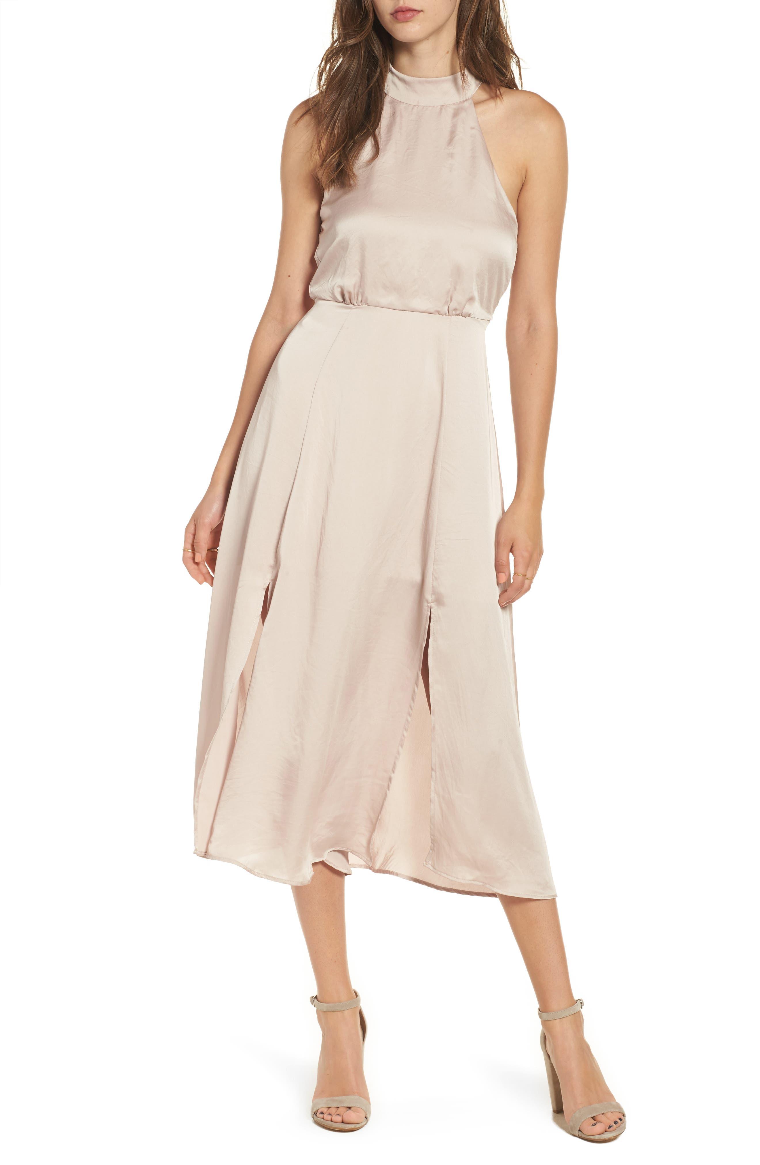 Satin Midi Dress,                         Main,                         color, Blush