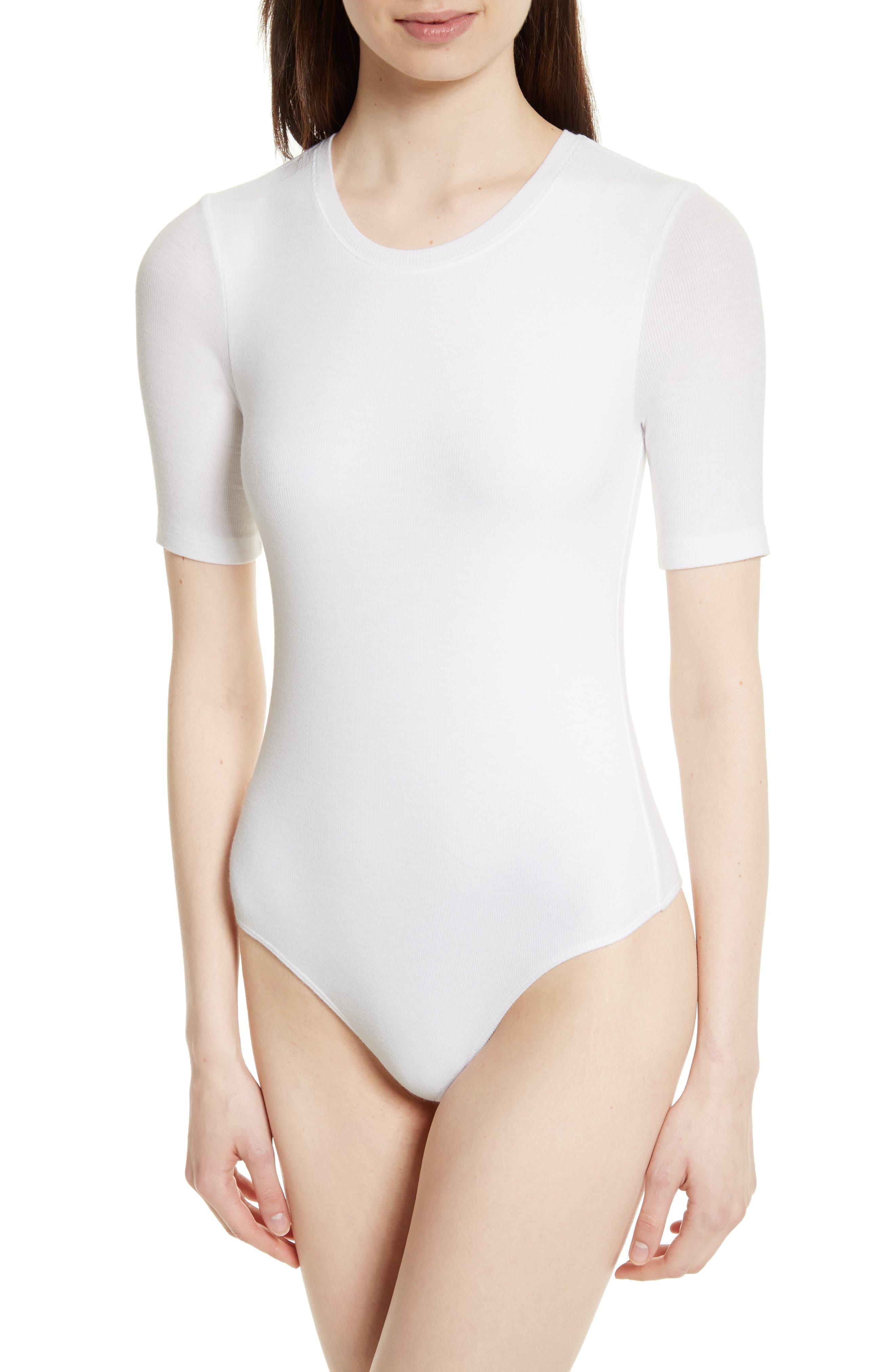 Ribbed Bodysuit,                             Alternate thumbnail 4, color,                             White