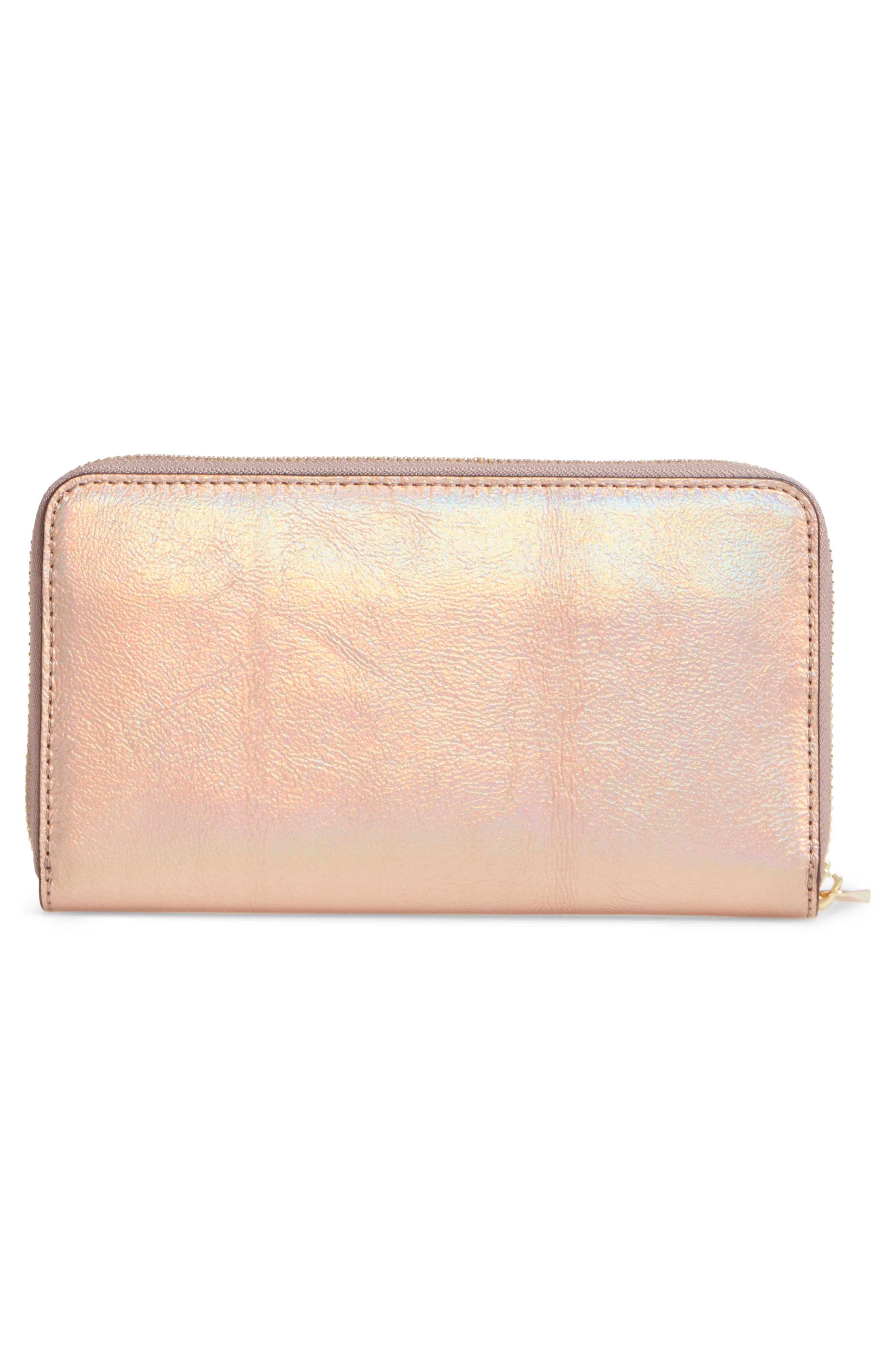 Robinson Metallic Leather Continental Wallet,                             Alternate thumbnail 4, color,                             Rose Gold