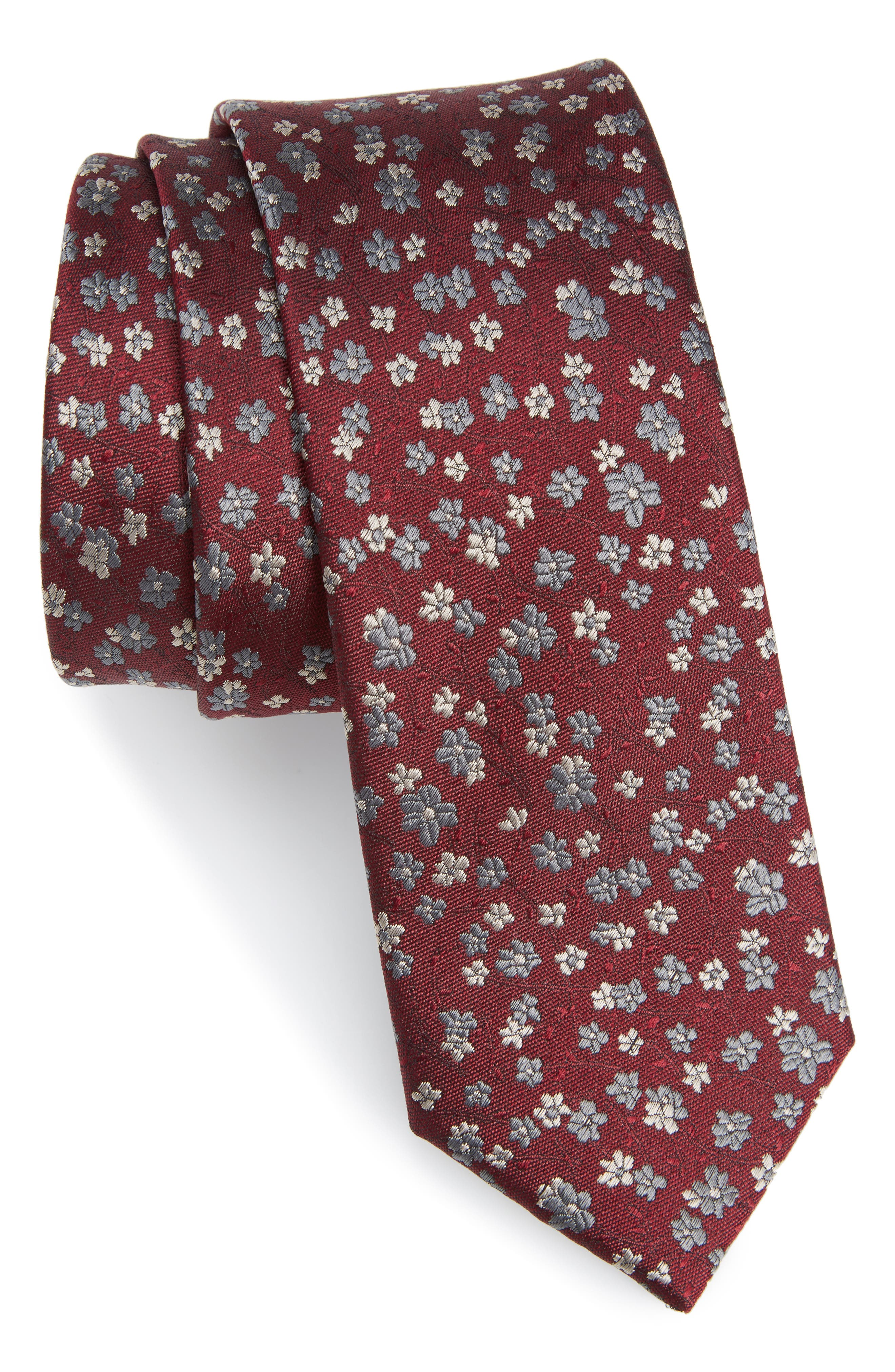 Freefall Floral Silk Tie,                         Main,                         color, Burgundy