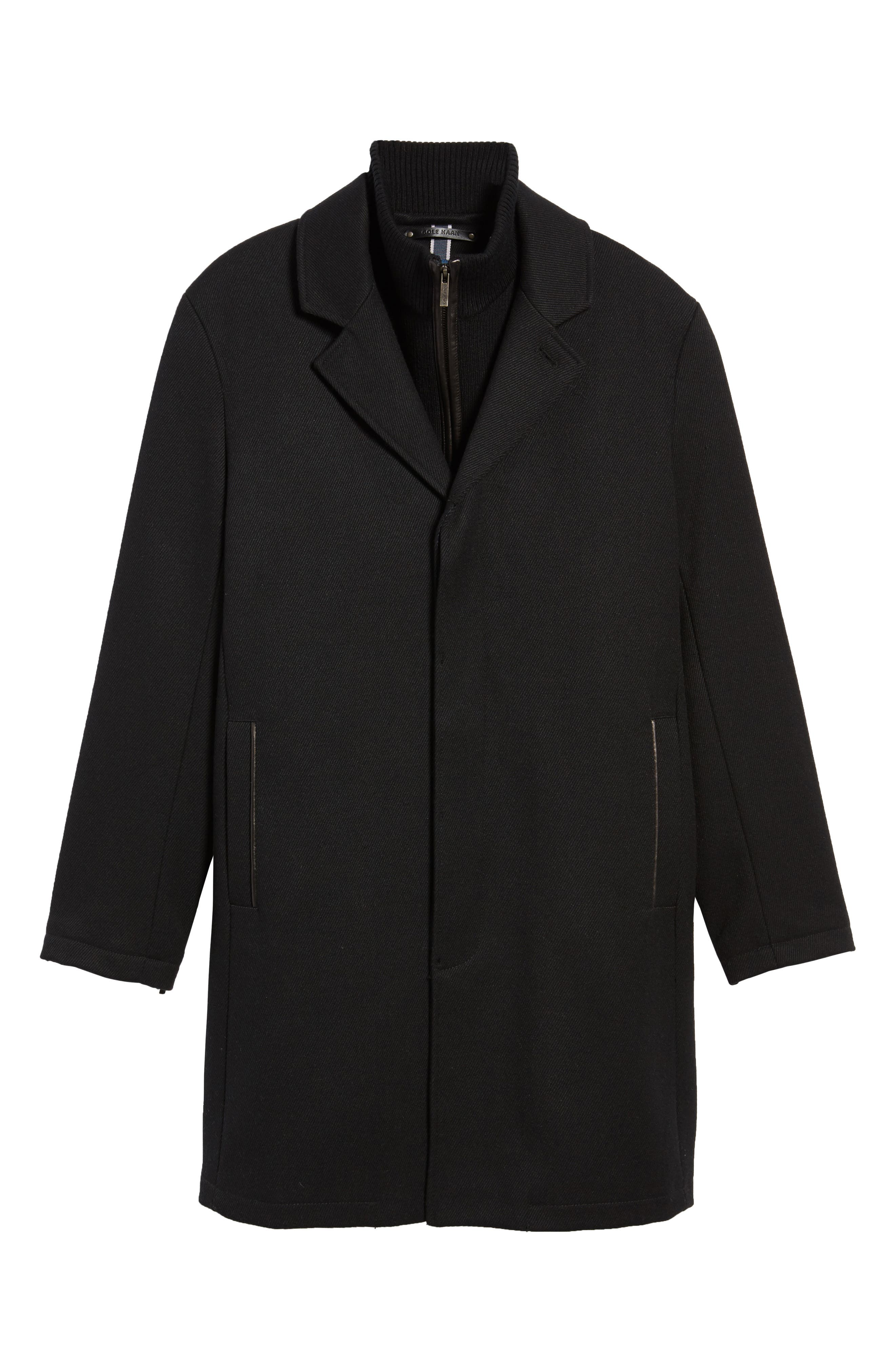Modern Twill Topcoat with Removable Bib,                             Alternate thumbnail 6, color,                             Black