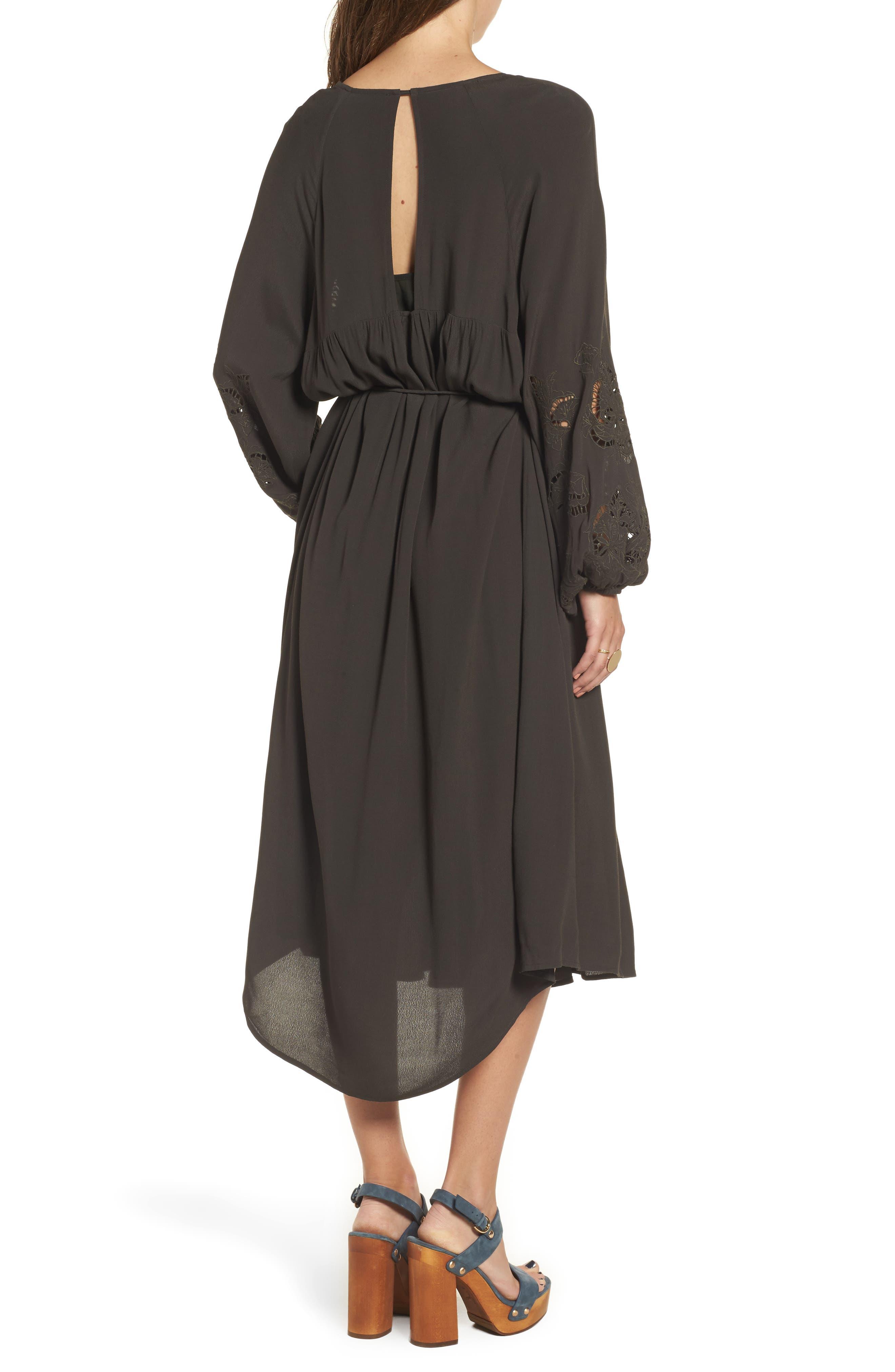 Ava Crochet Detail Dress,                             Alternate thumbnail 4, color,                             Dark Slate