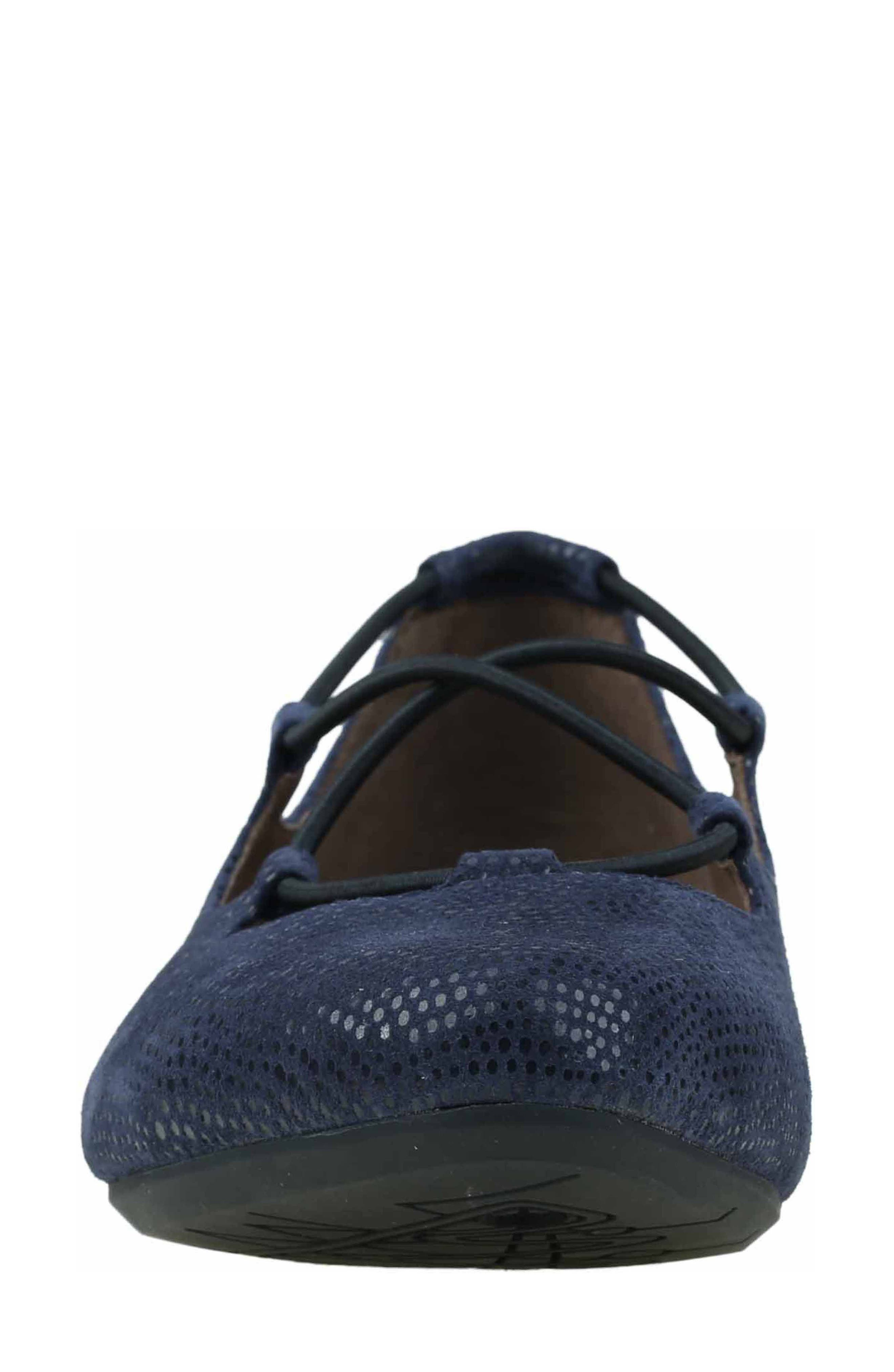 'Essen' Ghillie Flat,                             Alternate thumbnail 5, color,                             Navy Printed Suede