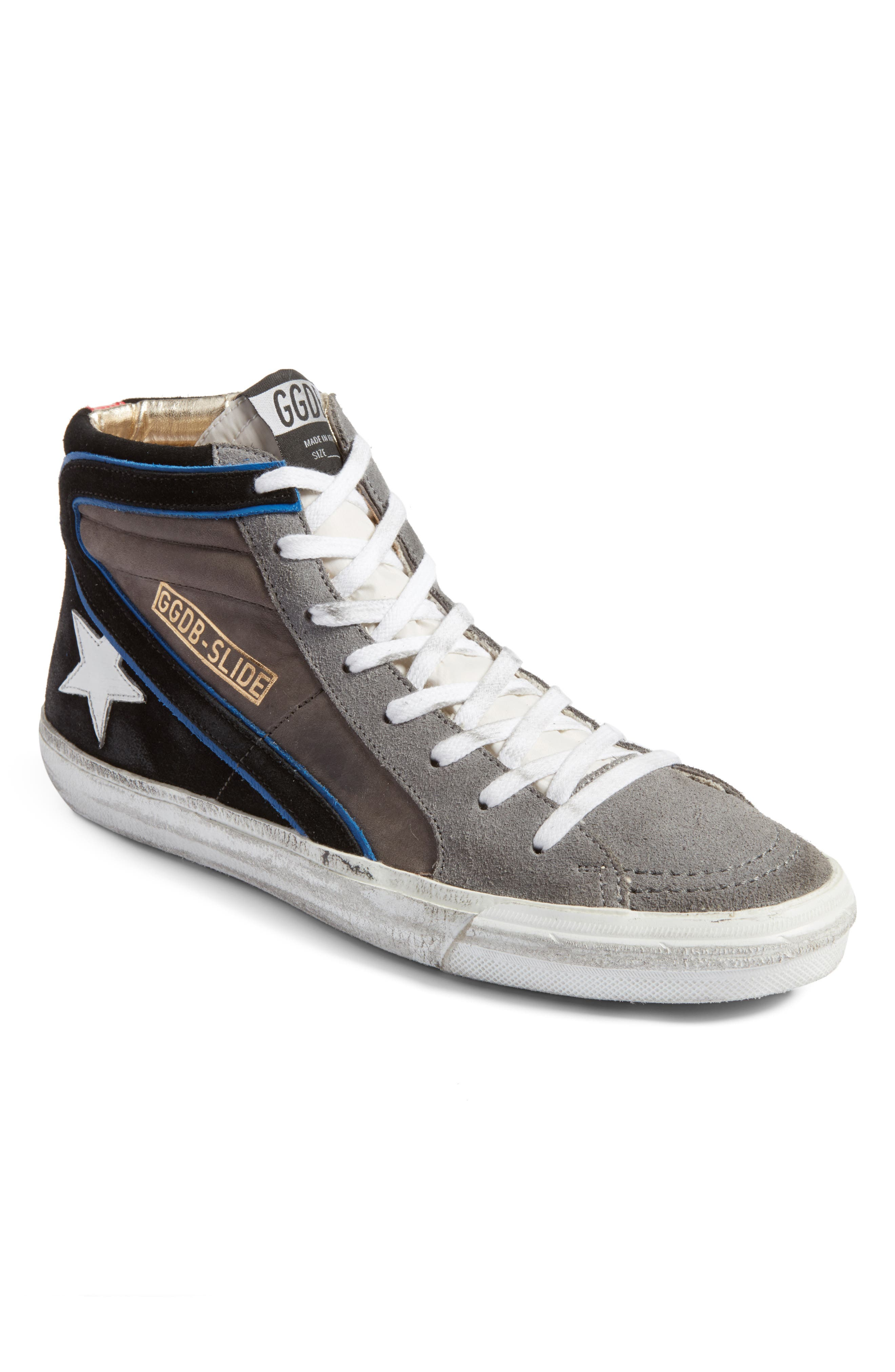 Slide High Top Sneaker,                         Main,                         color, Grey/ Blue Suede