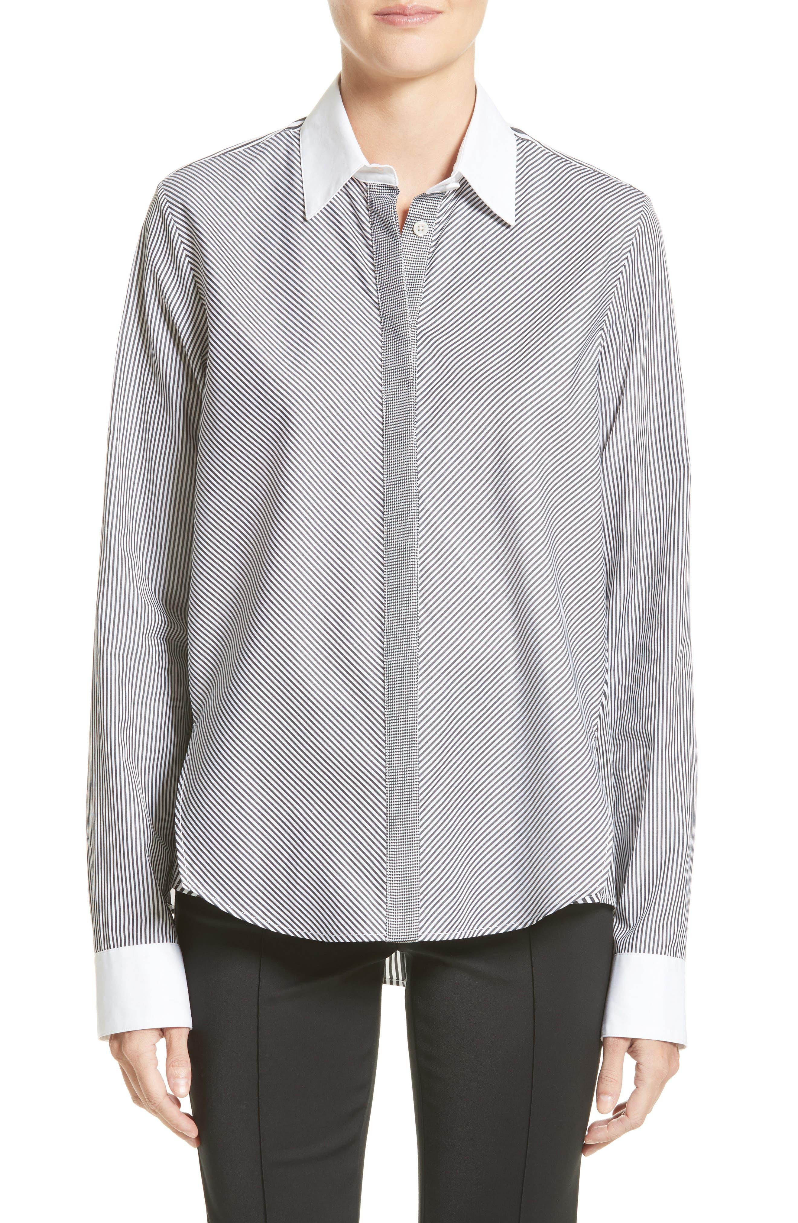 Stripe Cotton Trapeze Shirt,                         Main,                         color, Black/ White