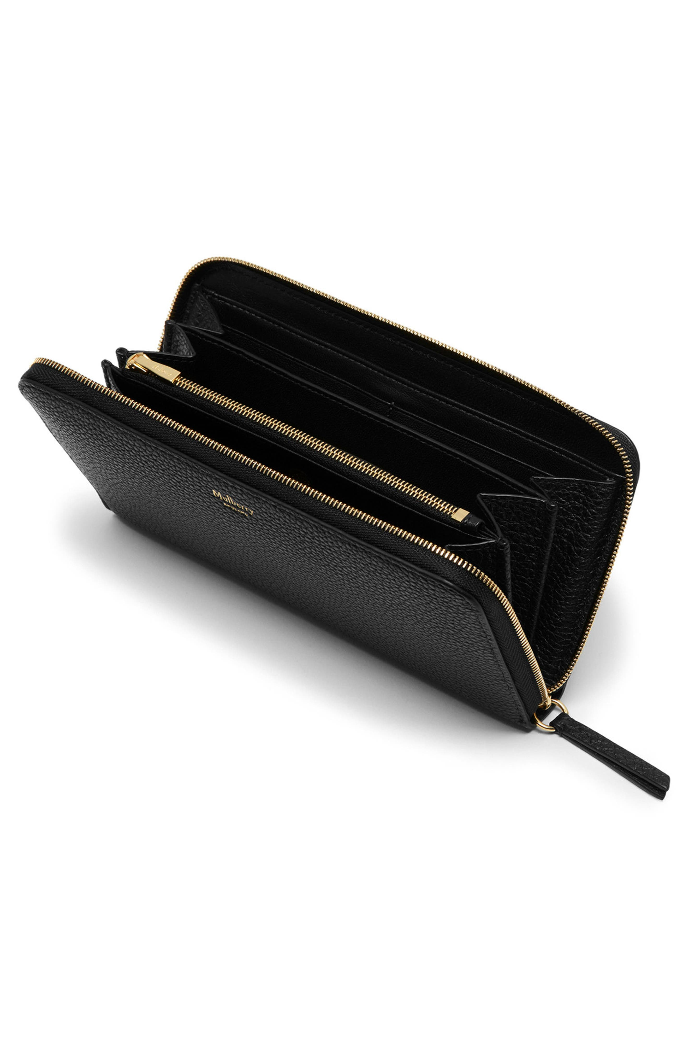 Zip Around Leather Wallet,                             Alternate thumbnail 2, color,                             Black
