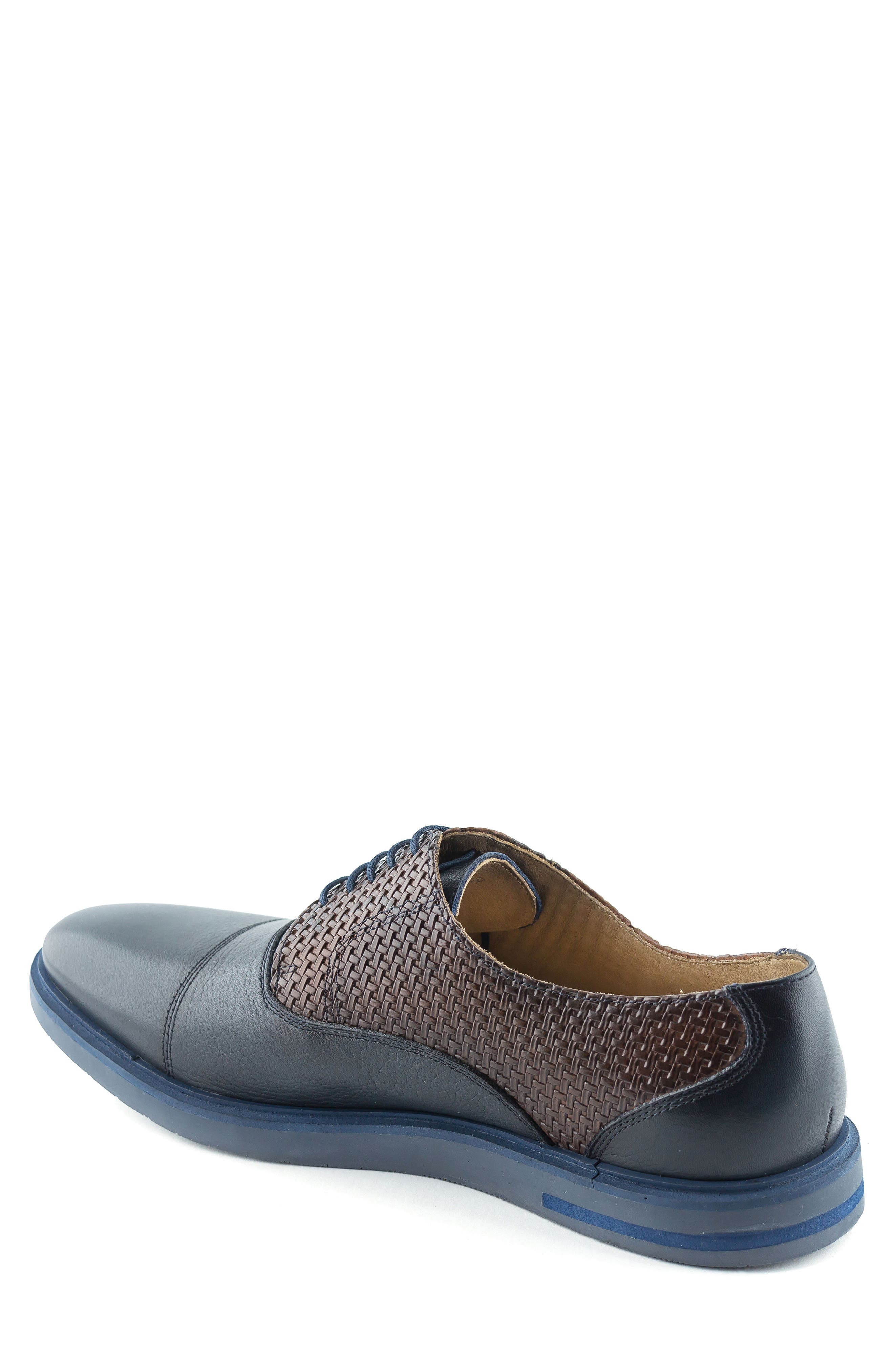 Manhattan Cap Toe Oxford,                             Alternate thumbnail 2, color,                             Navy Leather