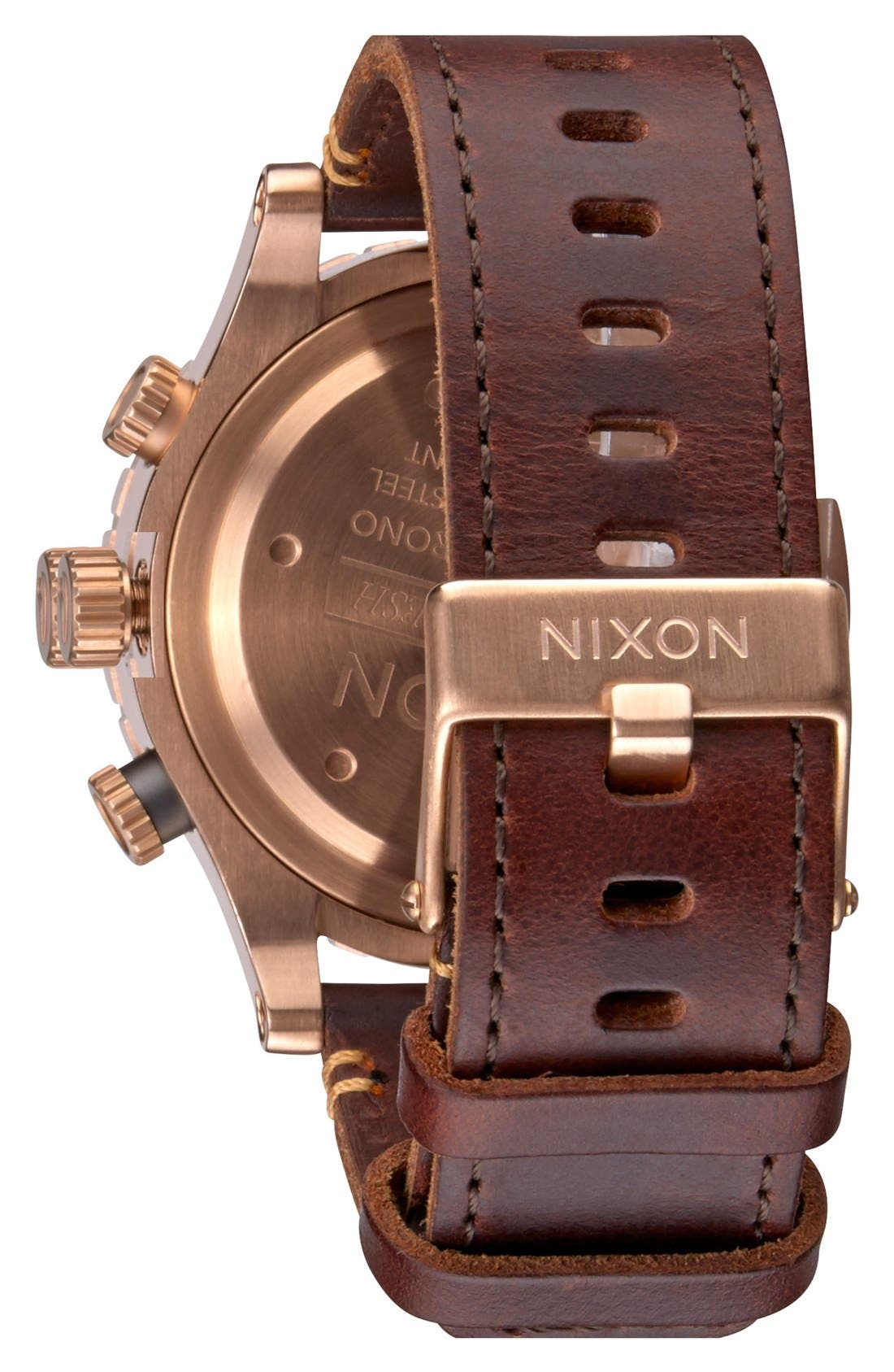 Alternate Image 2  - Nixon The 48-20 Chronograph Leather Strap Watch, 48mm