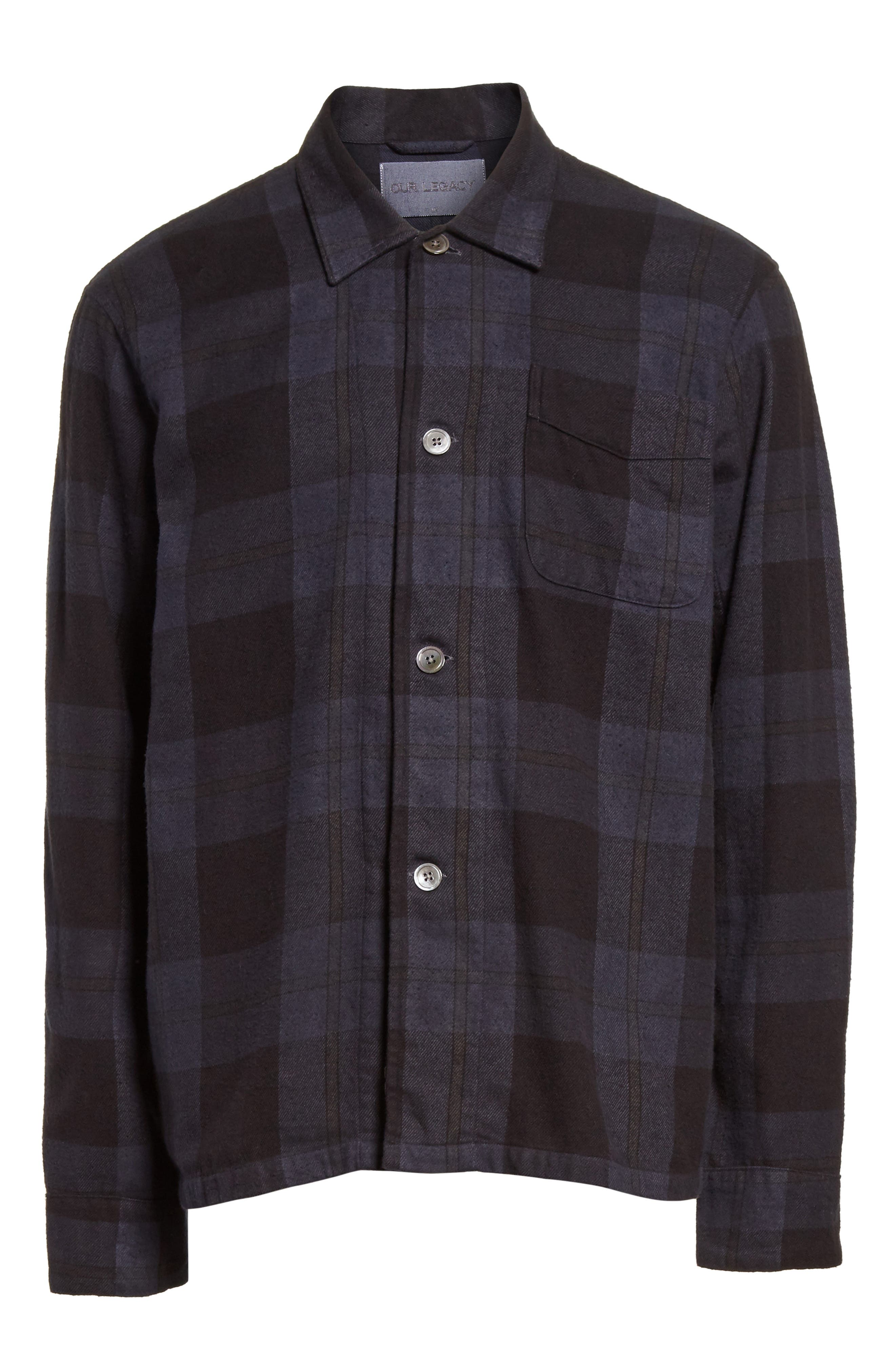 Alternate Image 6  - OUR LEGACY Box Plaid Flannel Sport Shirt