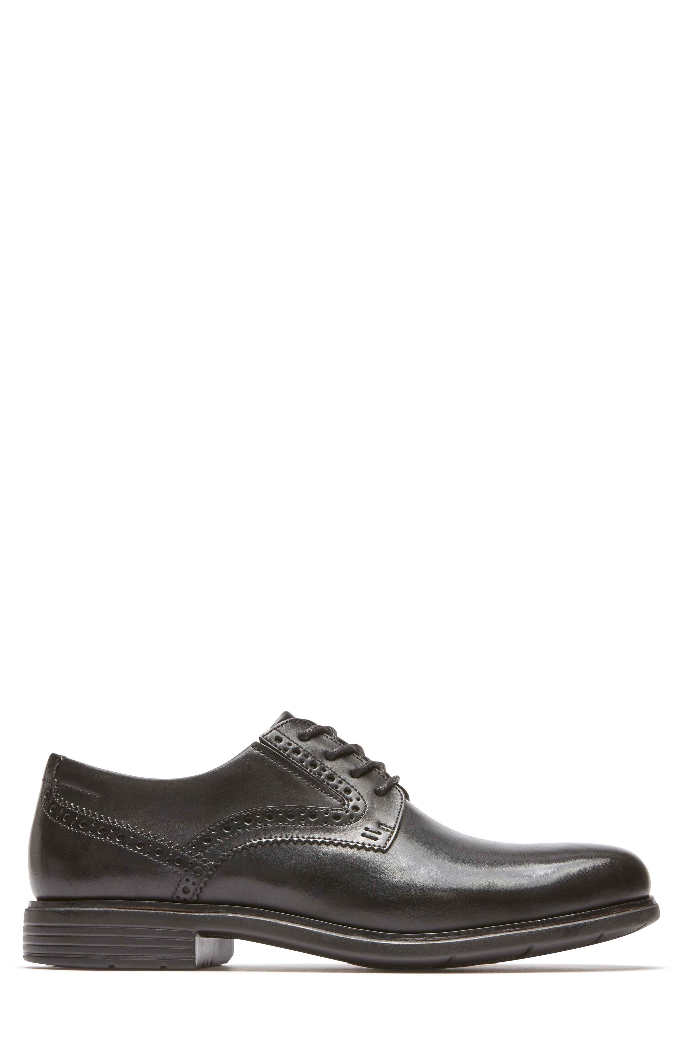 Total Motion Classic Dress Plain Toe Derby,                             Alternate thumbnail 3, color,                             Black Leather
