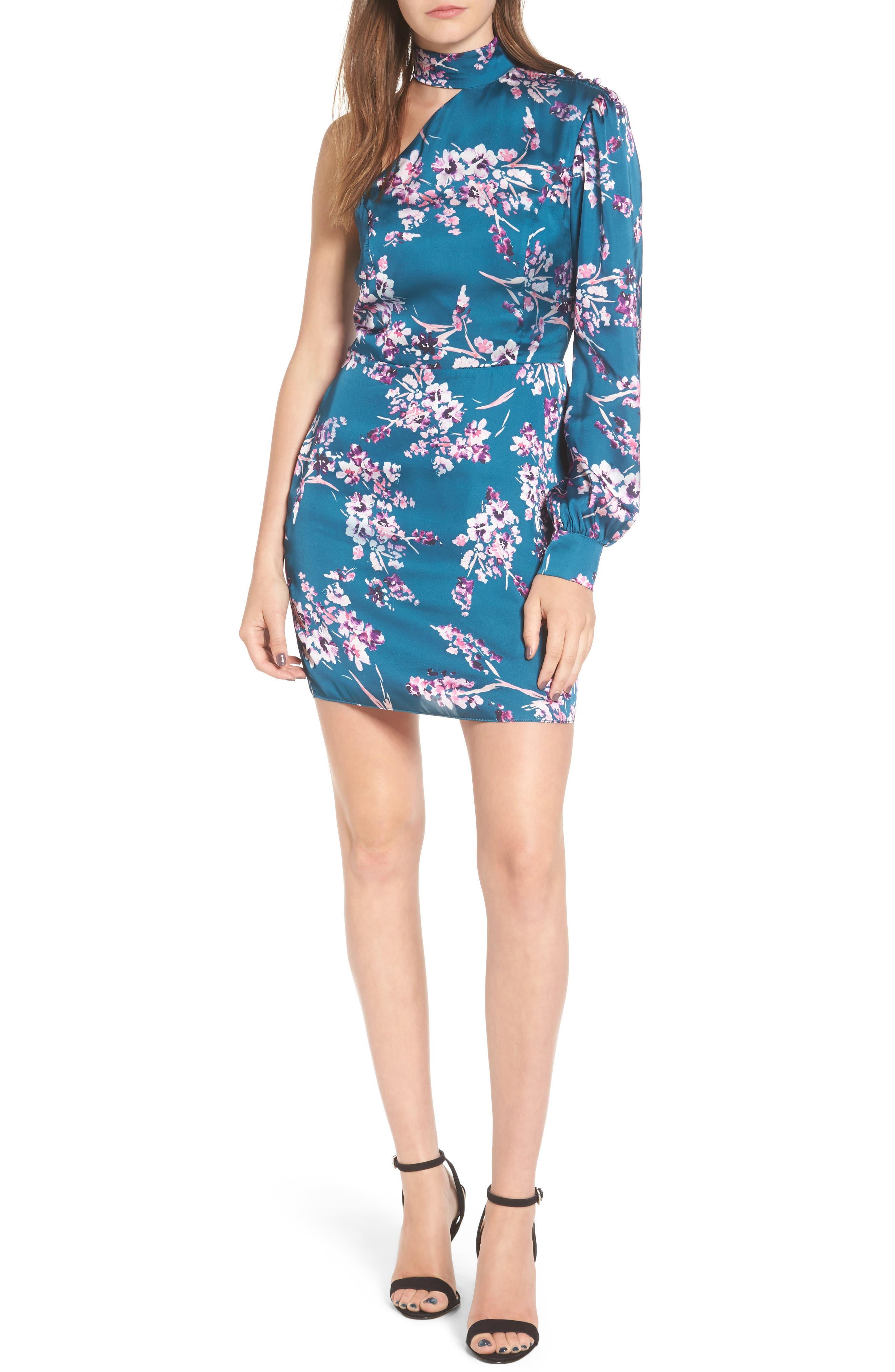 Clover Cold Shoulder Sheath Dress,                         Main,                         color, Moroccan Blossom