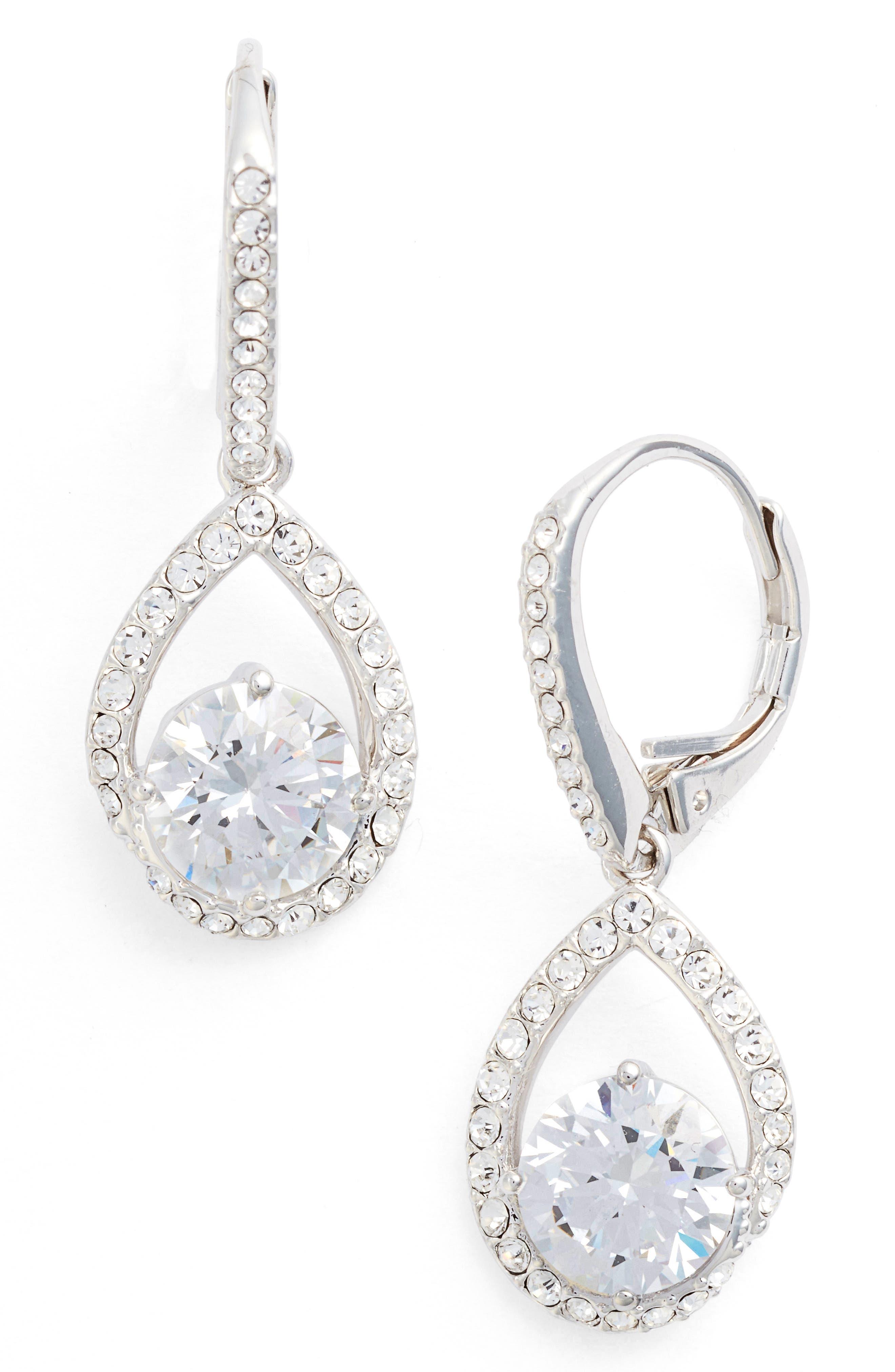 Cubic Zirconia Pear Drop Earrings,                         Main,                         color, Silver