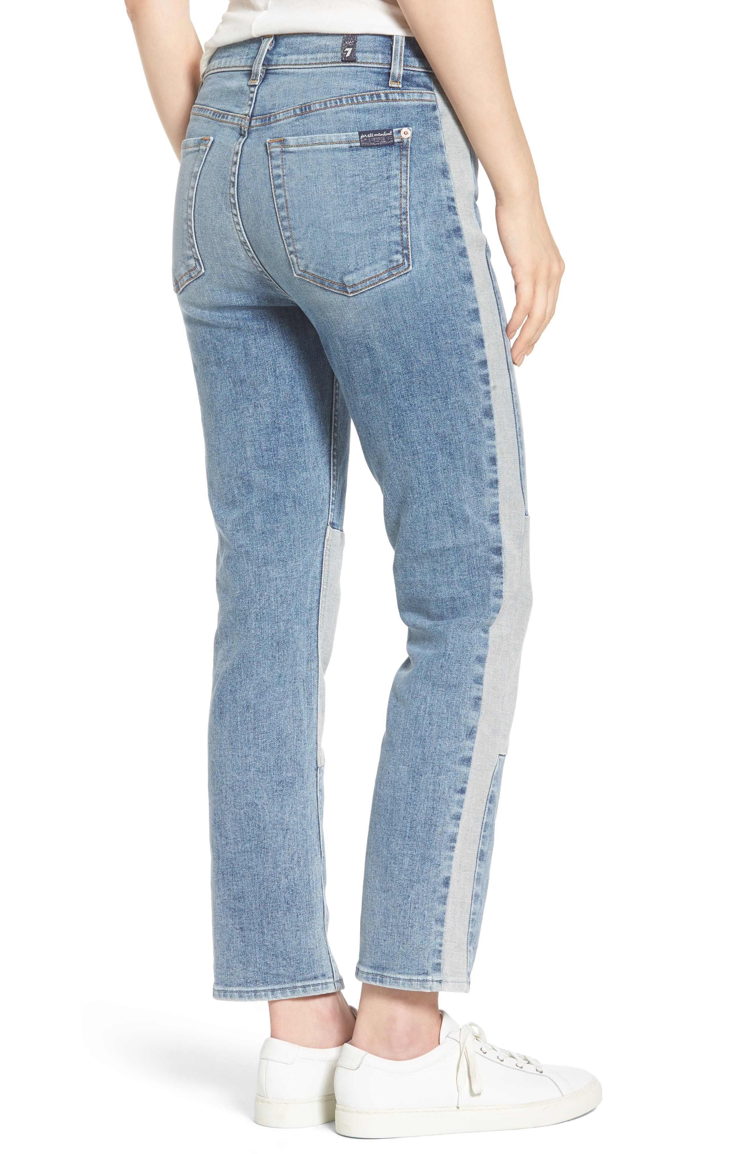 Edie High Waist Crop Jeans,                             Alternate thumbnail 2, color,                             Gold Coast Waves