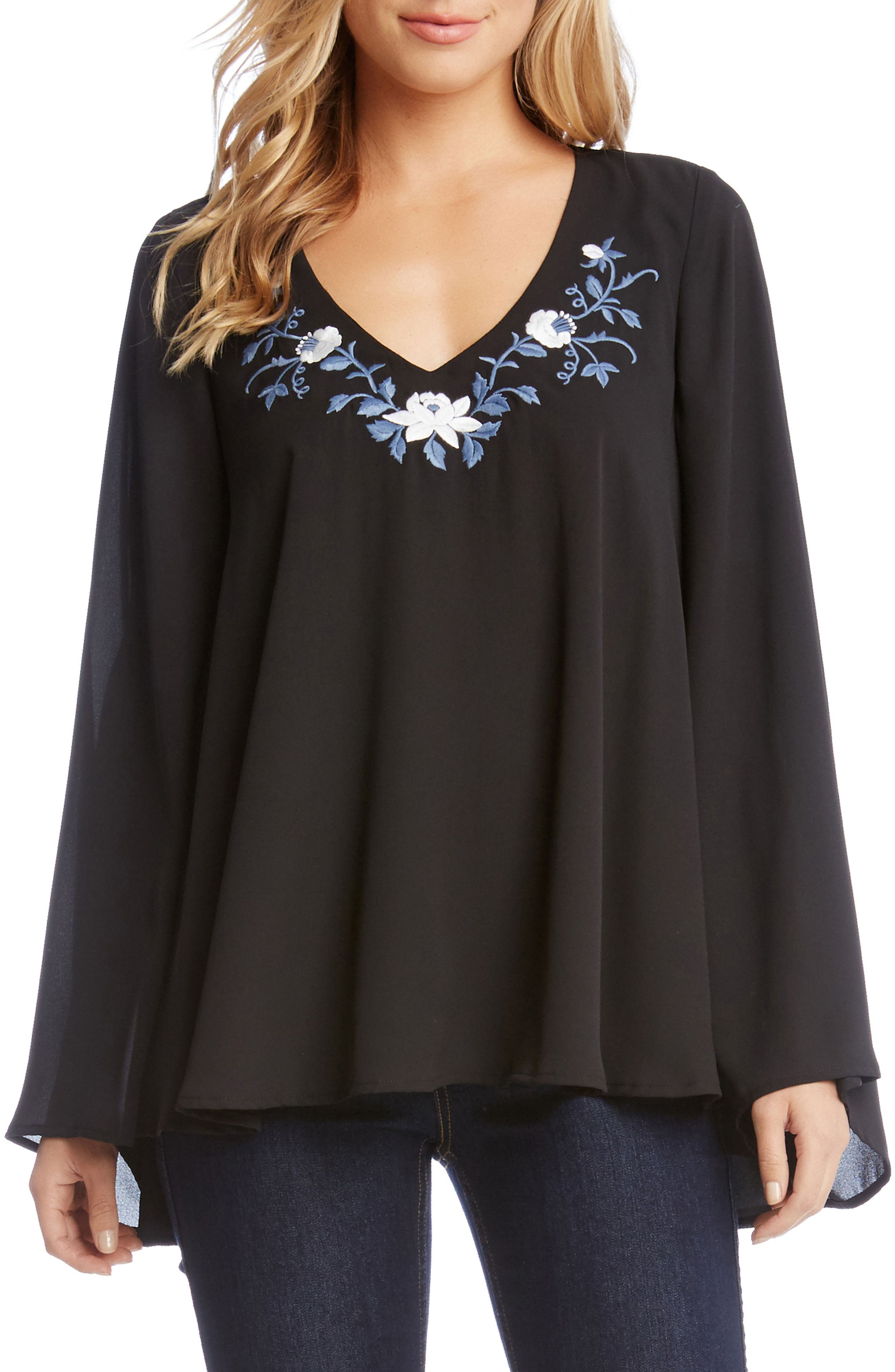 Main Image - Karen Kane Embroidered V-Neck Crepe Swing Top