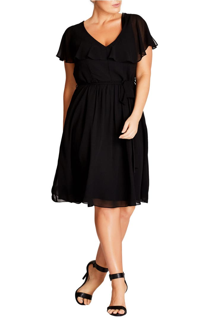 Main Image - City Chic Ruffle V-Neck Fit & Flare Dress