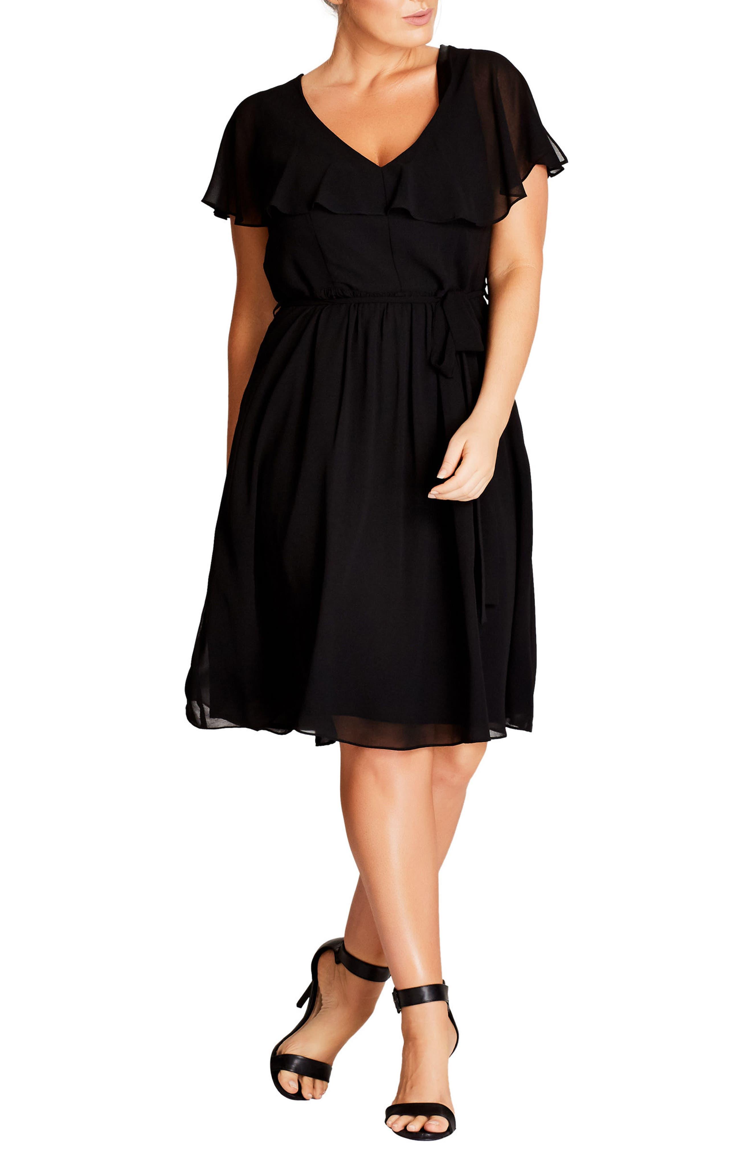 City Chic Ruffle V-Neck Fit & Flare Dress