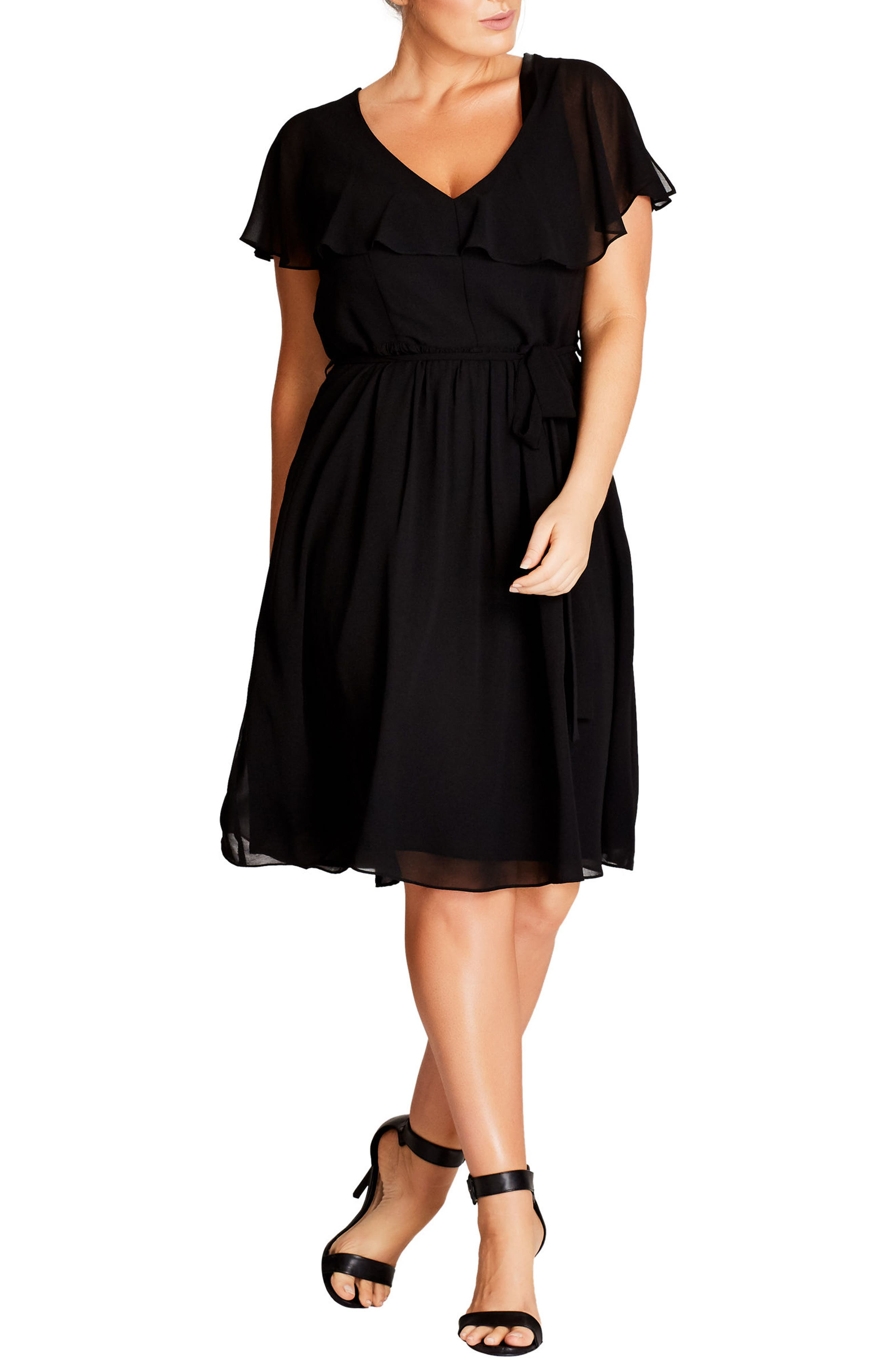 City Chic Ruffle V-Neck Fit & Flare Dress