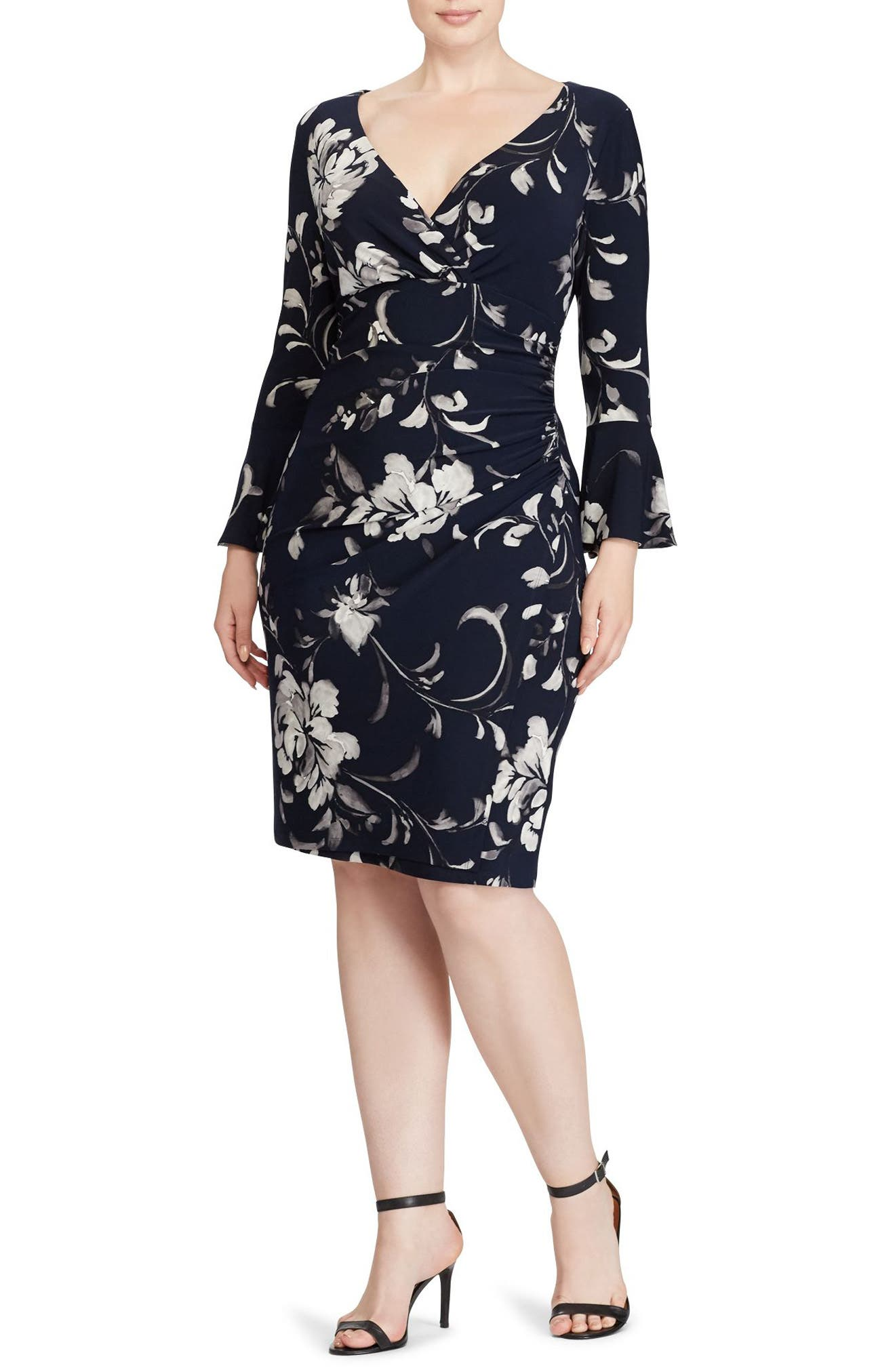 Floral Bell Sleeve Jersey Dress,                         Main,                         color, Lighthouse Navy/ Grey Multi
