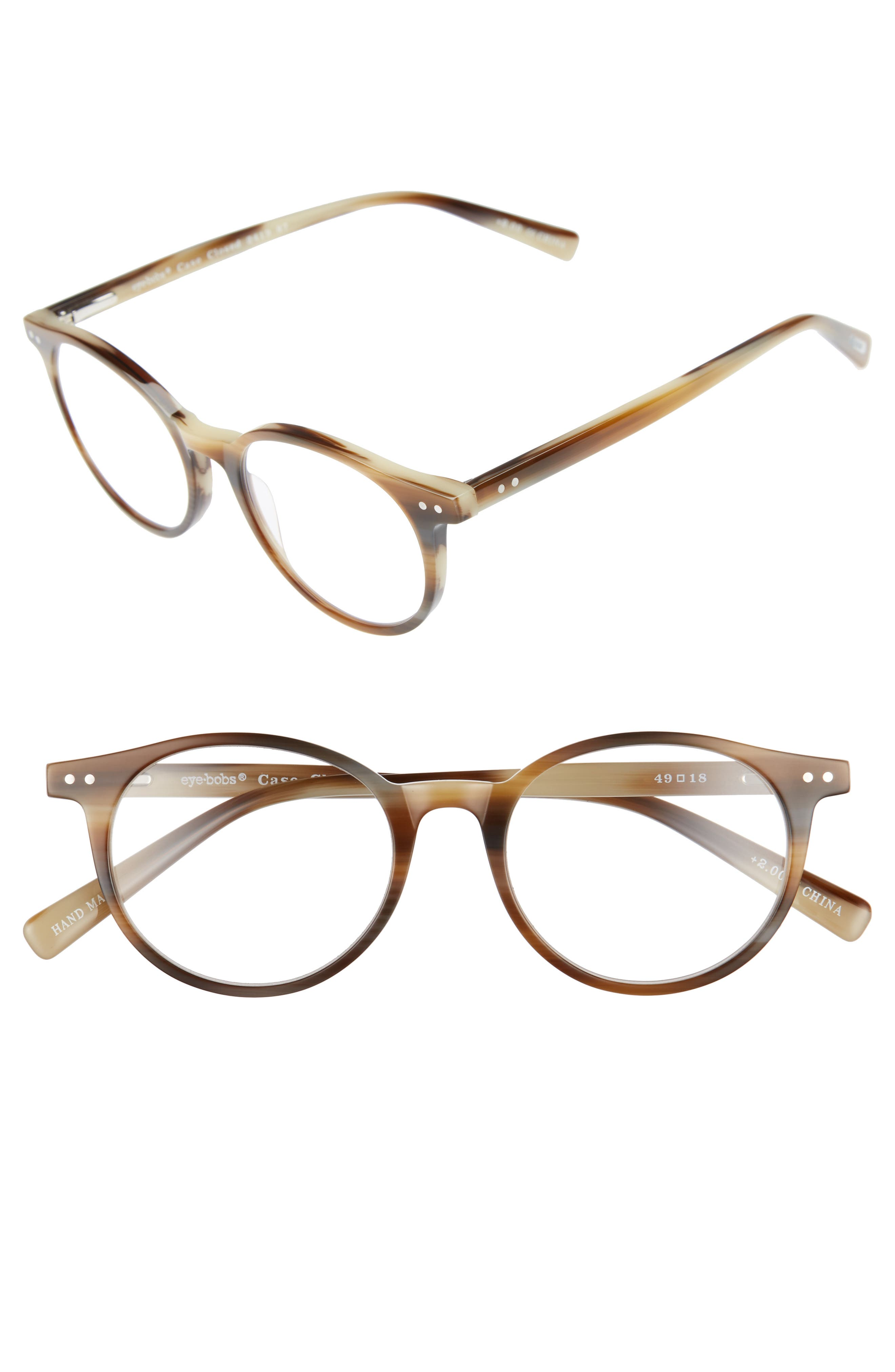 Case Closed 49mm Reading Glasses,                         Main,                         color, Brown Horn