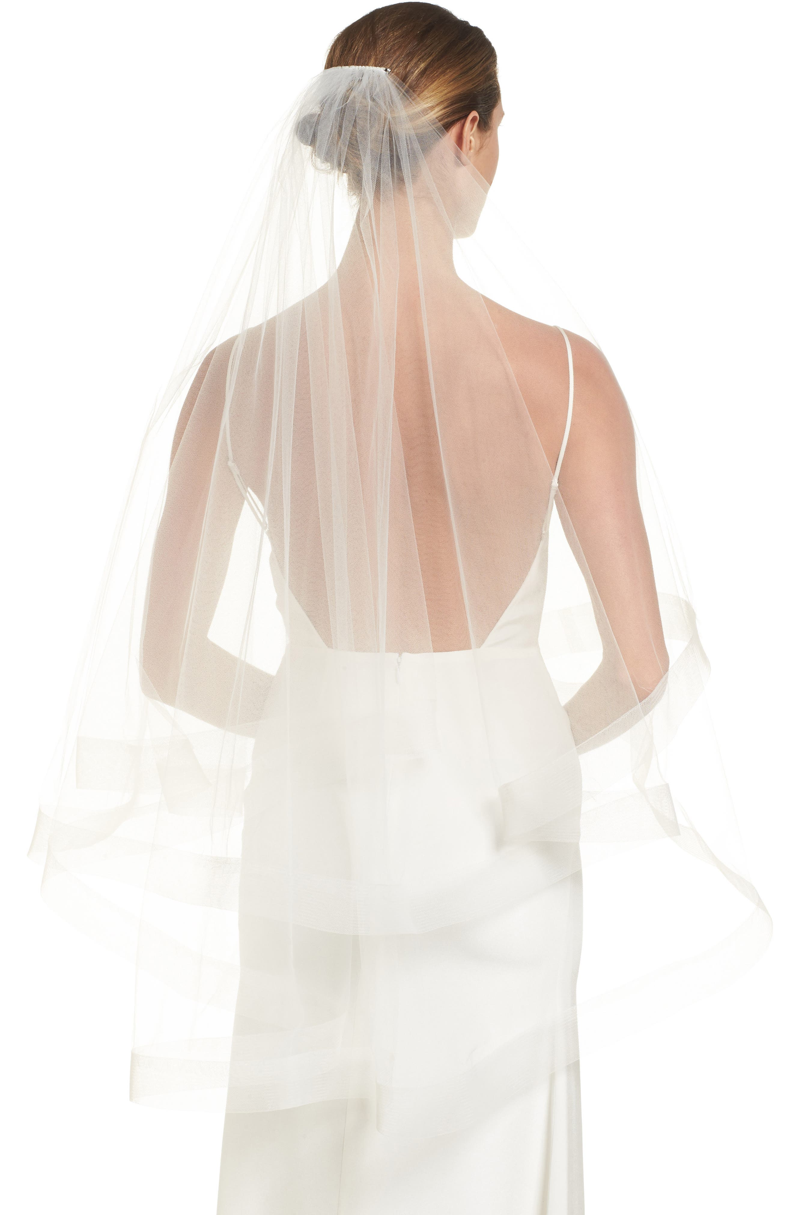 Dickinson Bridal Veil,                             Main thumbnail 1, color,                             Light Ivory