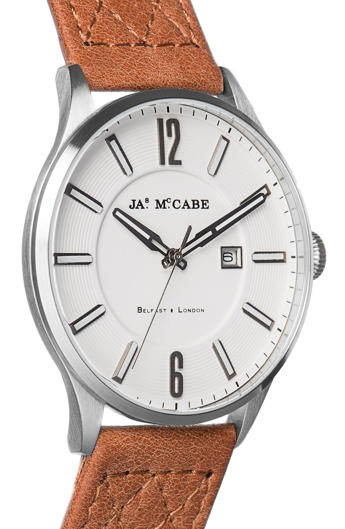 Alternate Image 3  - James McCabe London Slim Leather Strap Watch, 43mm