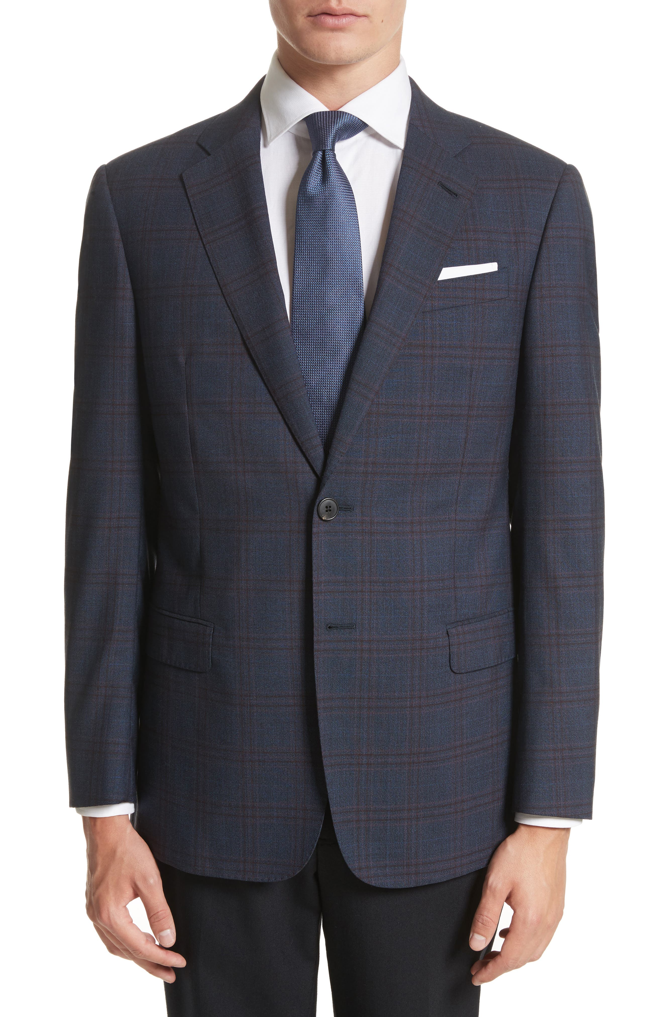 G-Line Trim Fit Plaid Wool Sport Coat,                         Main,                         color, Navy