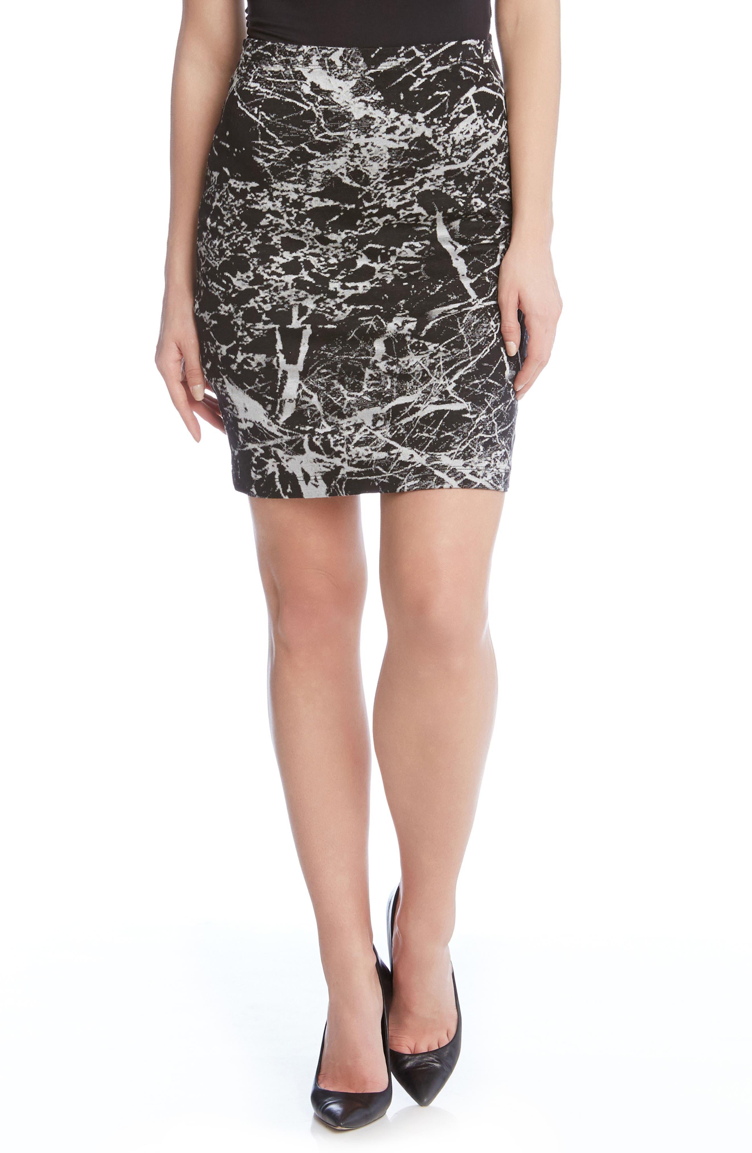 Karen Kane Granite Print Stretch Skirt