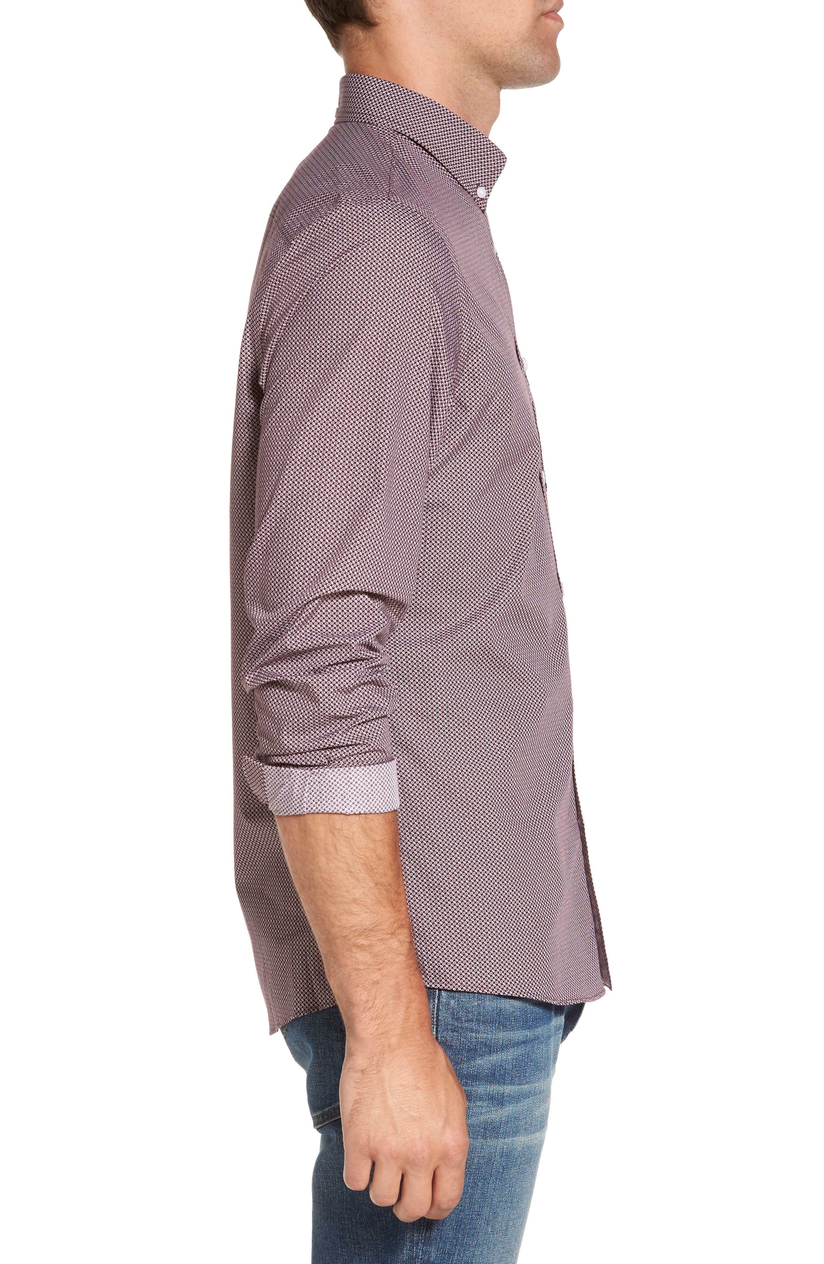 Alternate Image 3  - Nordstrom Men's Shop Trim Fit Non-Iron Spade Print Sport Shirt (Regular & Tall)
